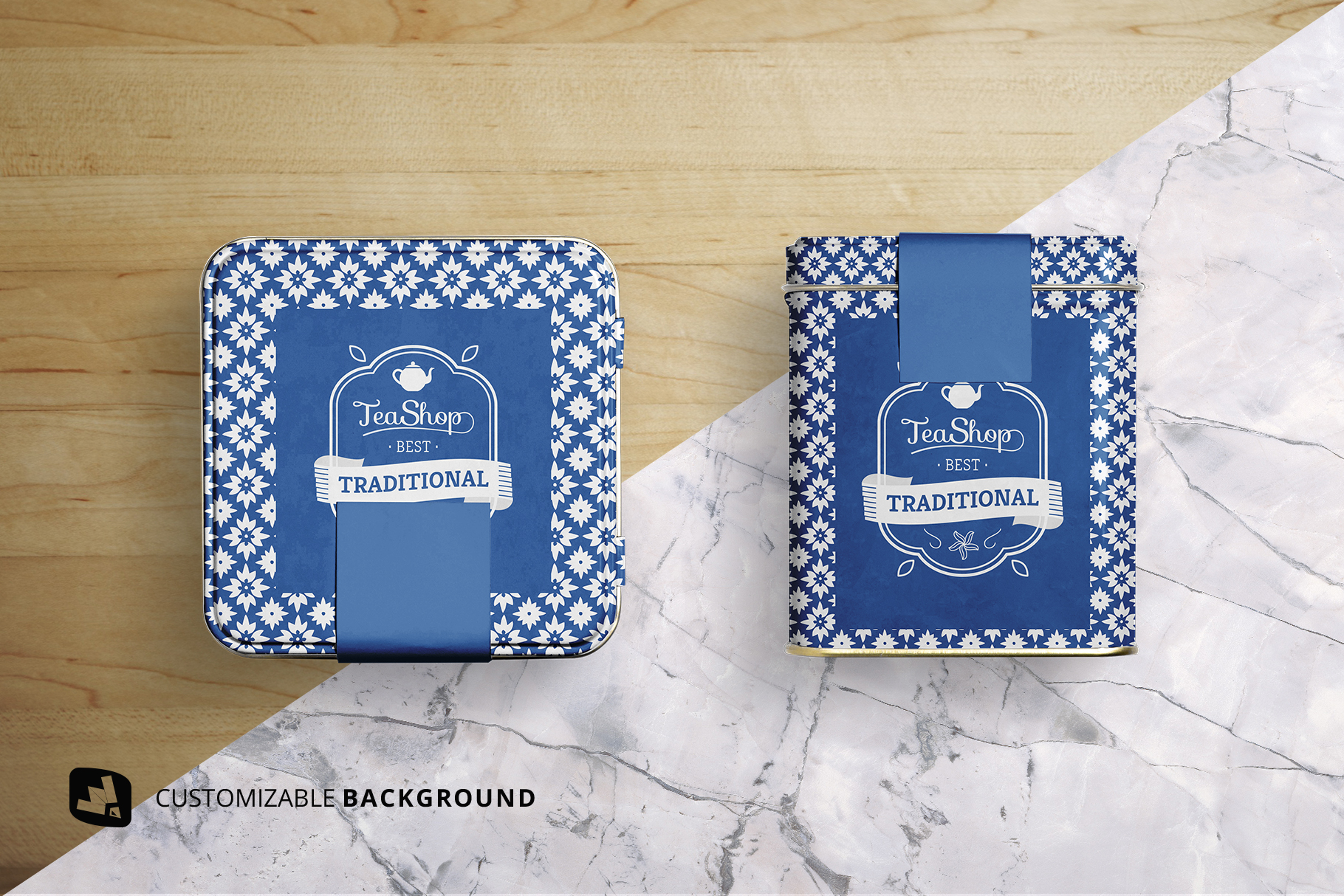background options of the organic tea tin box packaging mockup