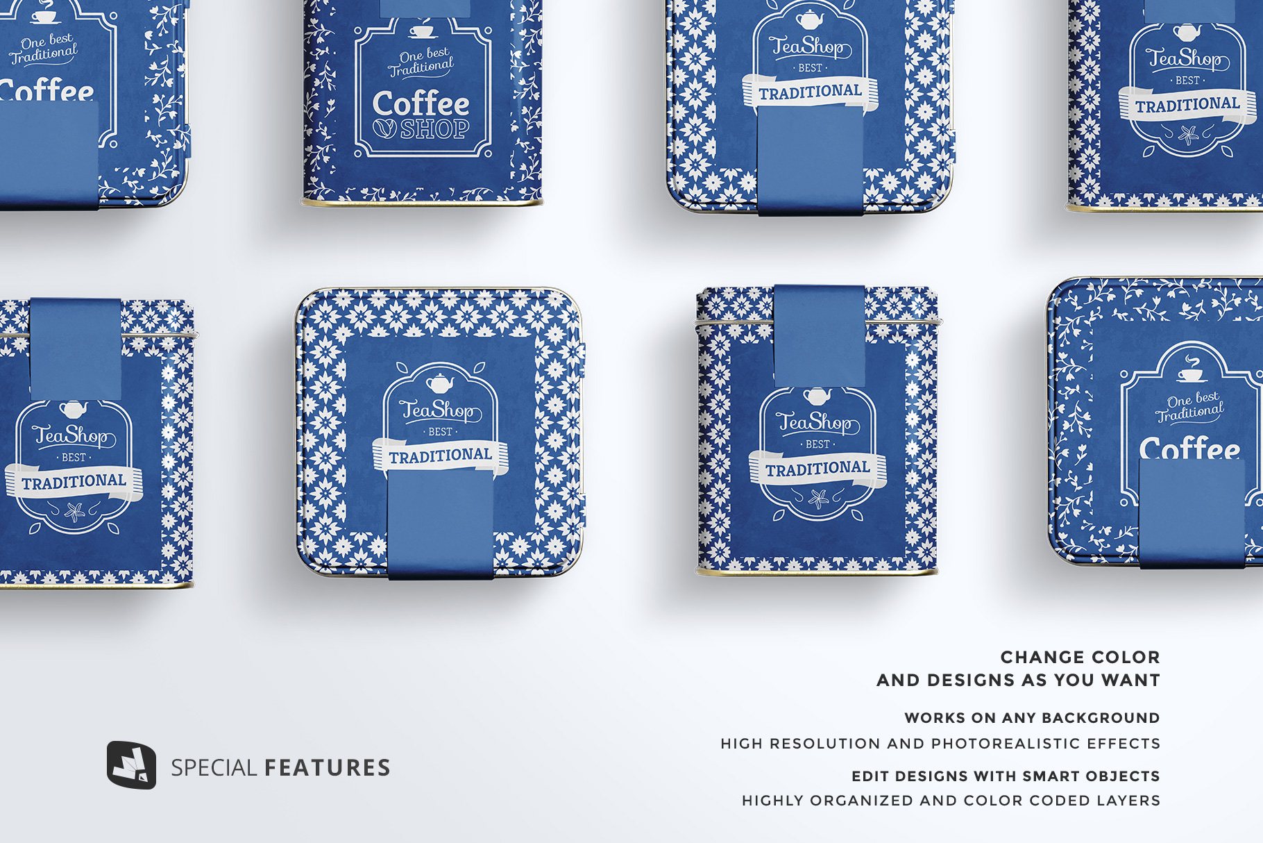 features of the organic tea tin box packaging mockup