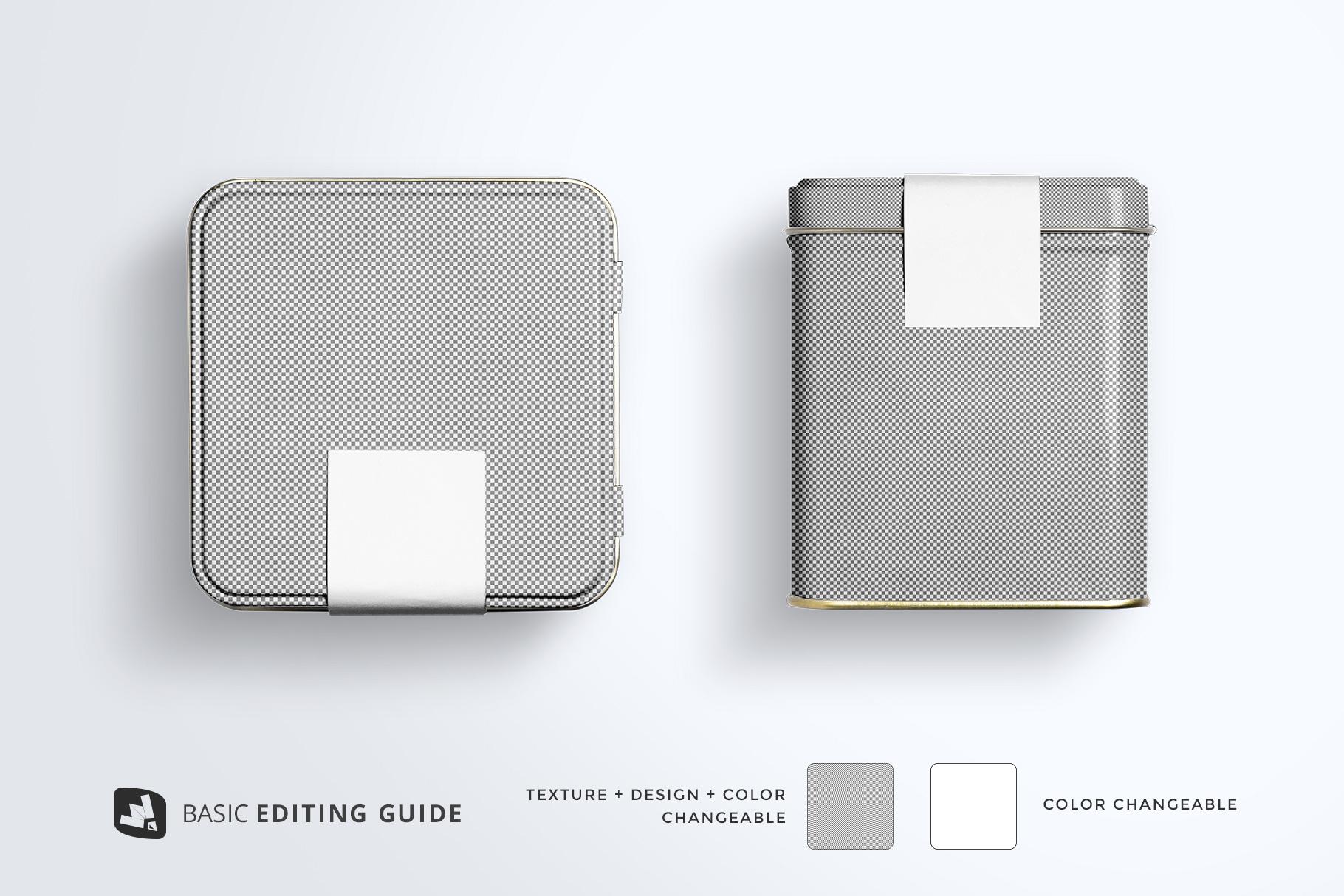 editability of the organic tea tin box packaging mockup