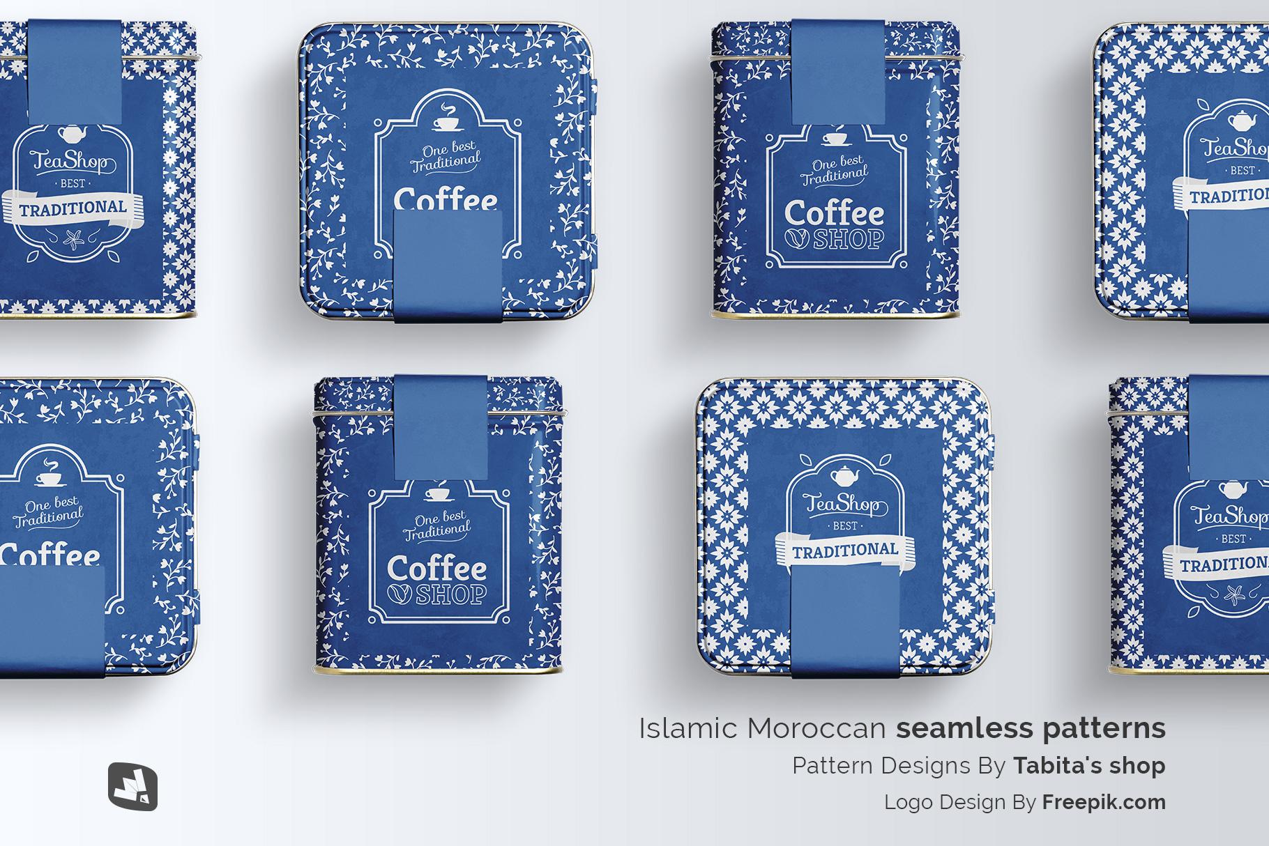designer's credit of the organic tea tin box packaging mockup