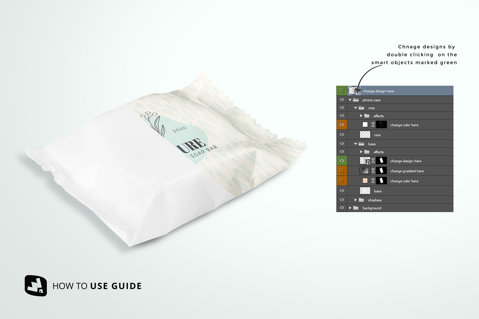 how to change label design of the hand made soap bar packaging mockup