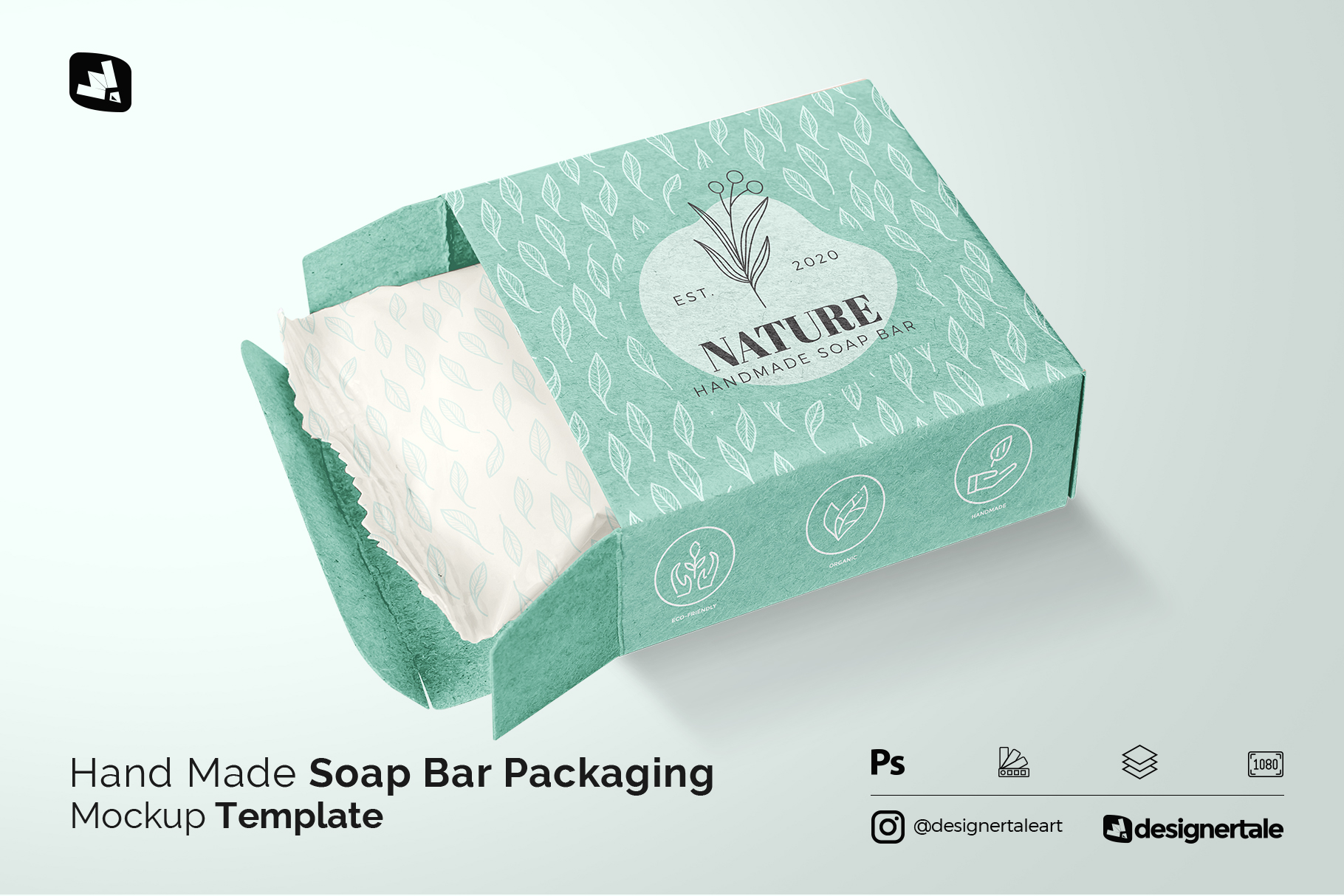 hand made soap bar packaging mockup