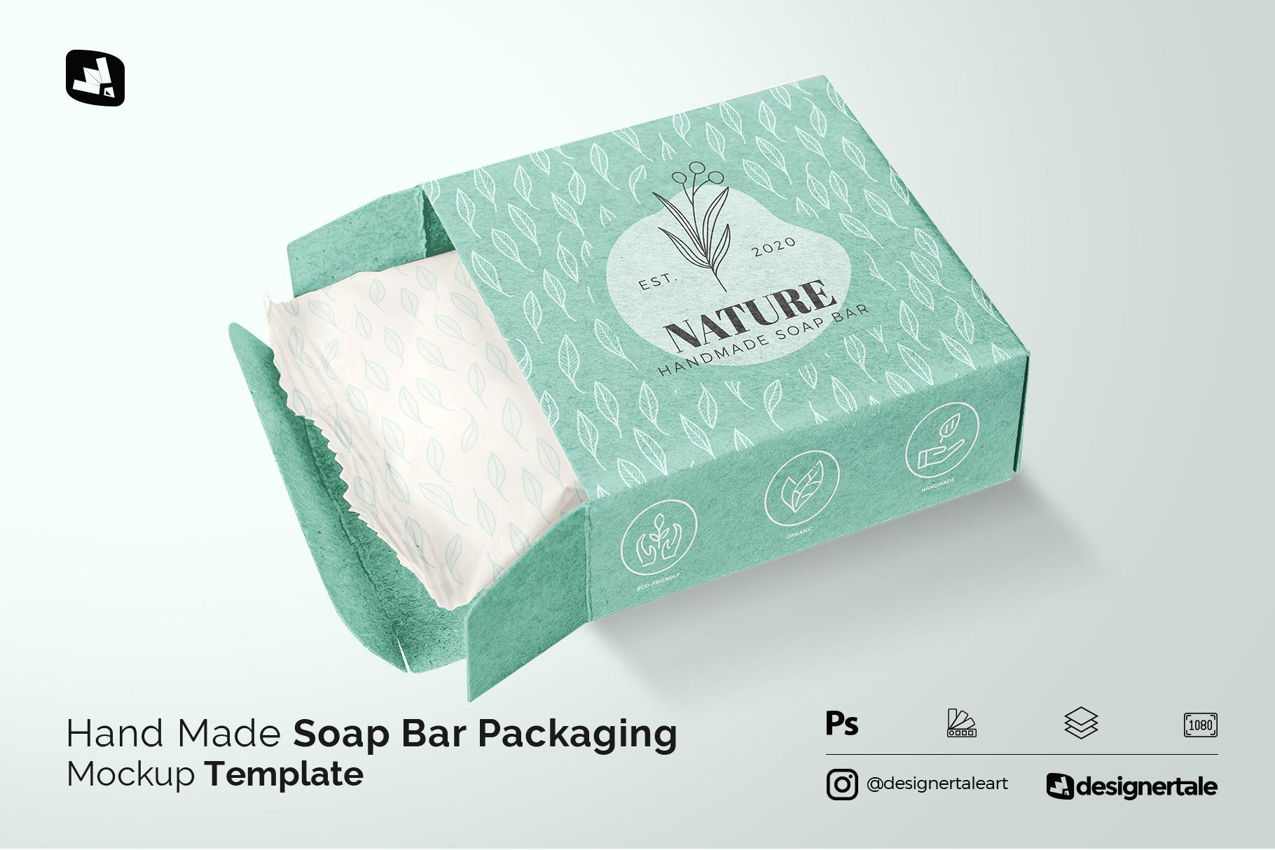 hand made soap bar packaging mockup
