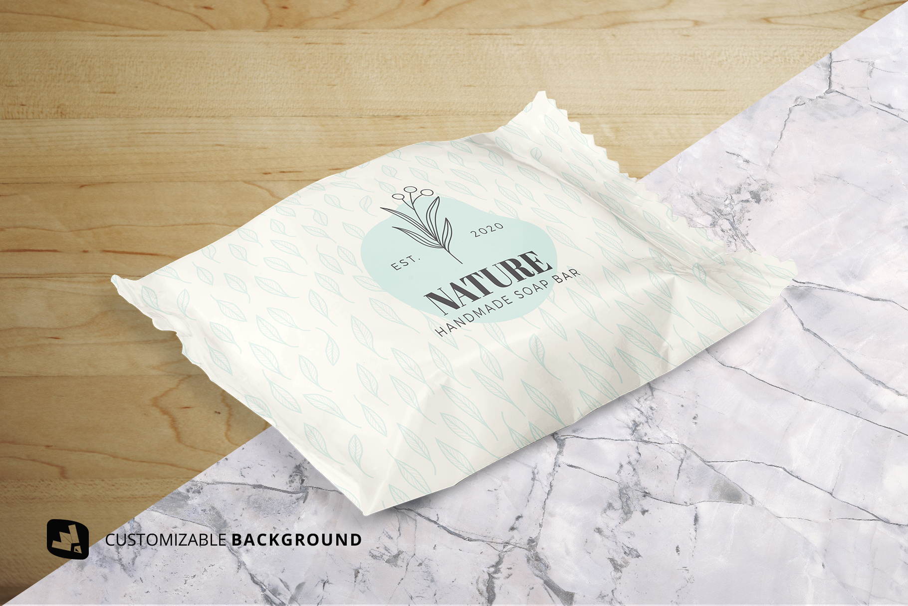 background options of the hand made soap bar packaging mockup