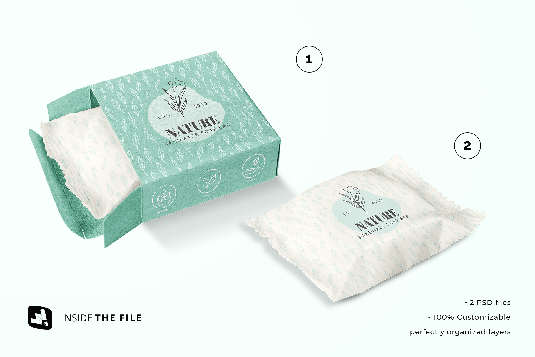 files included in the hand made soap bar packaging mockup