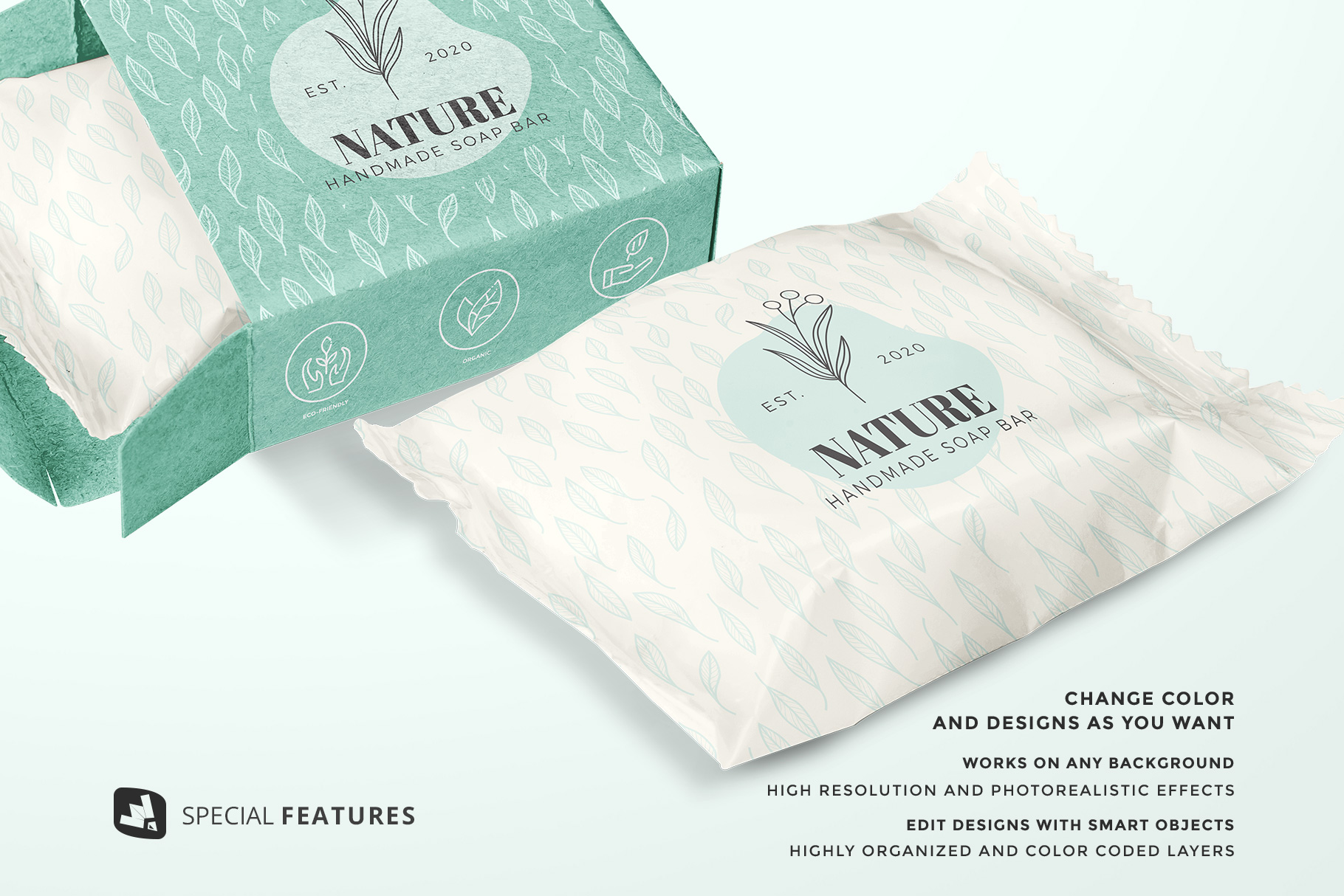 special features of the hand made soap bar packaging mockup