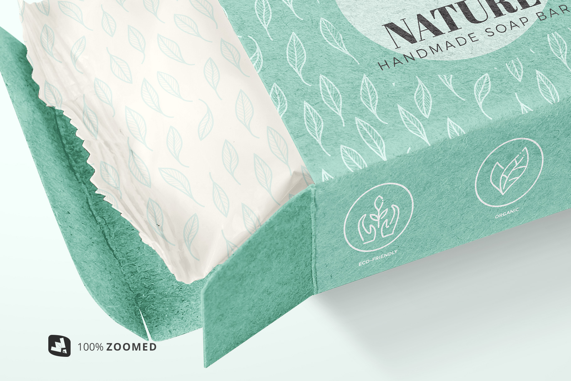 zoomed in image of the hand made soap bar packaging mockup