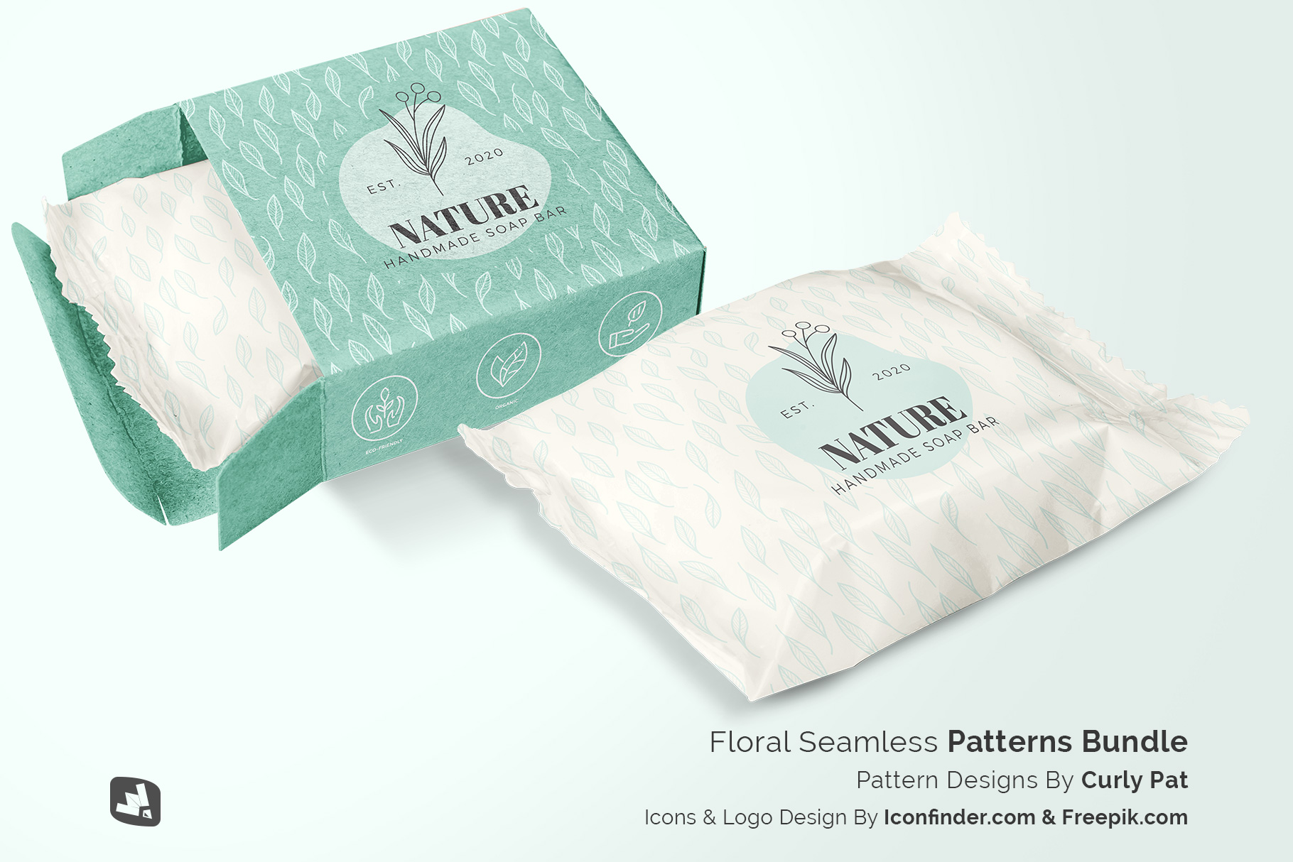 designer's credit of the hand made soap bar packaging mockup