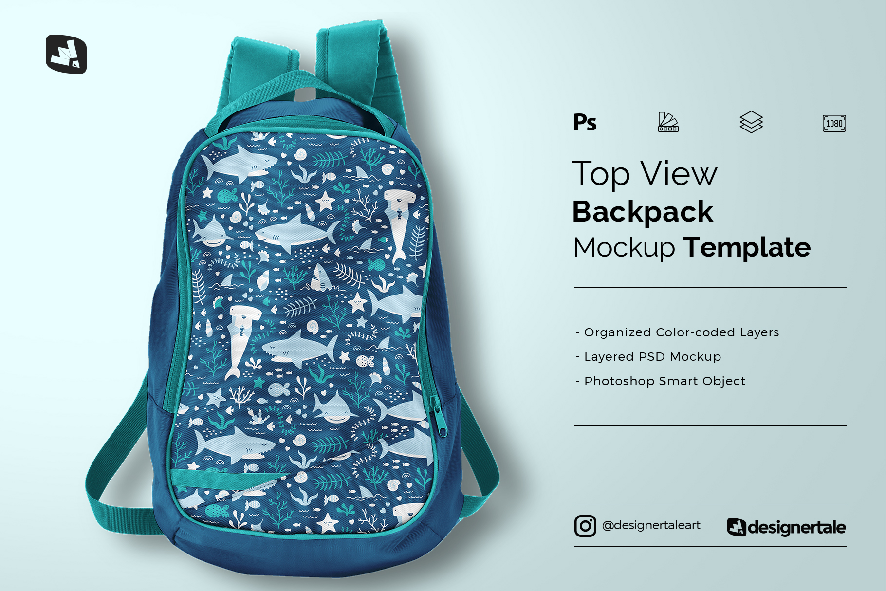top view backpack mockup