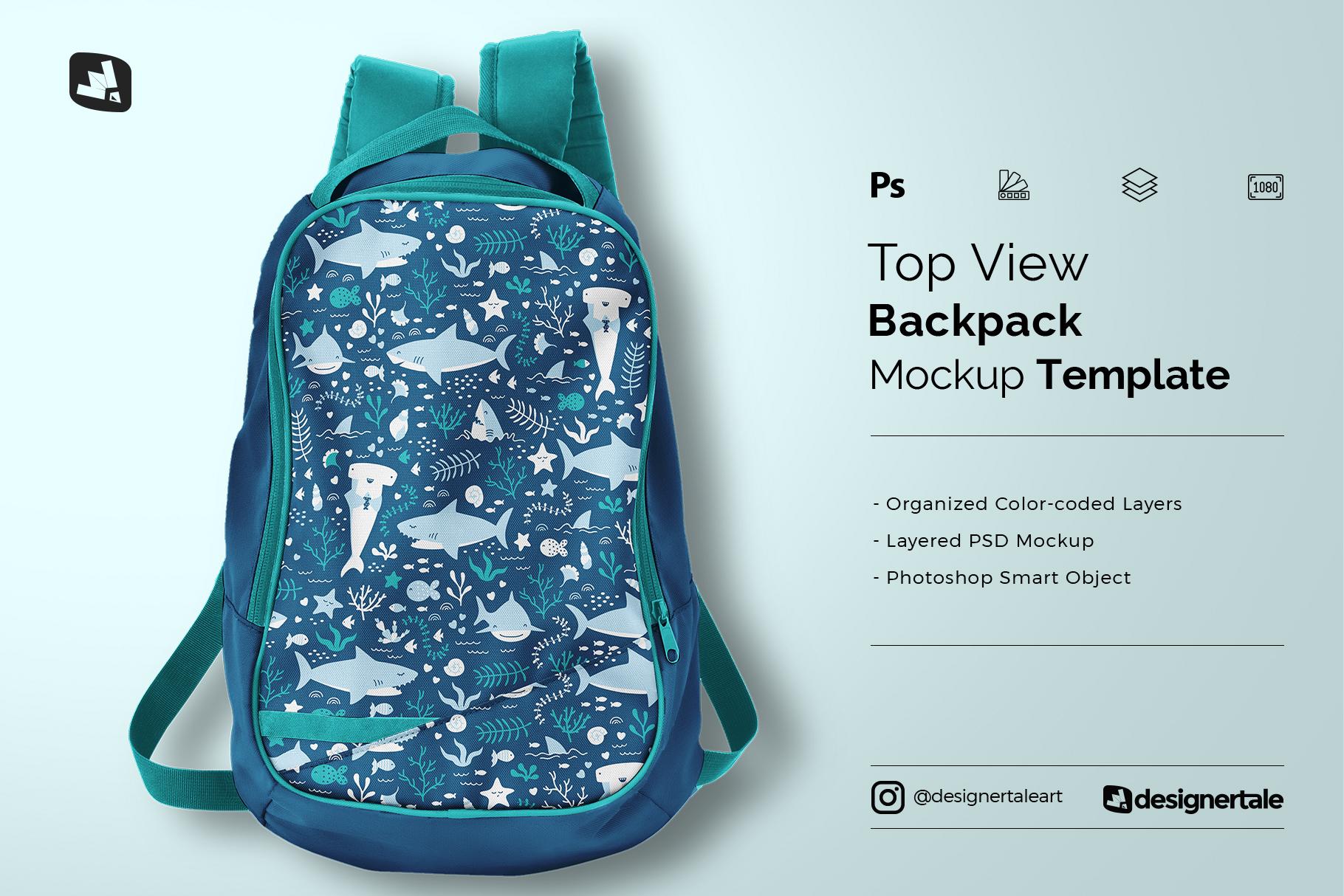 top view backpack mockup