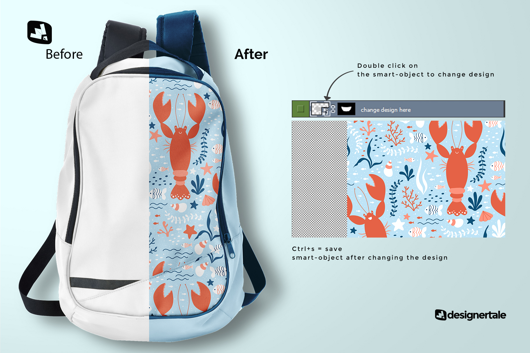 how to change design of the top view backpack mockup
