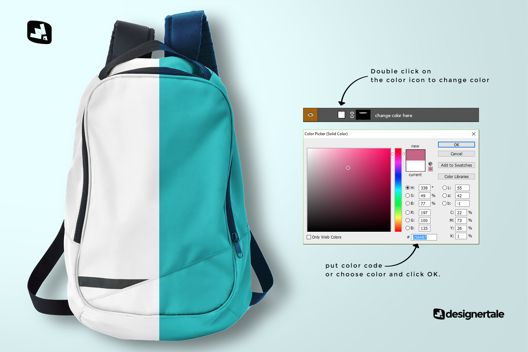 how to change color of the top view backpack mockup