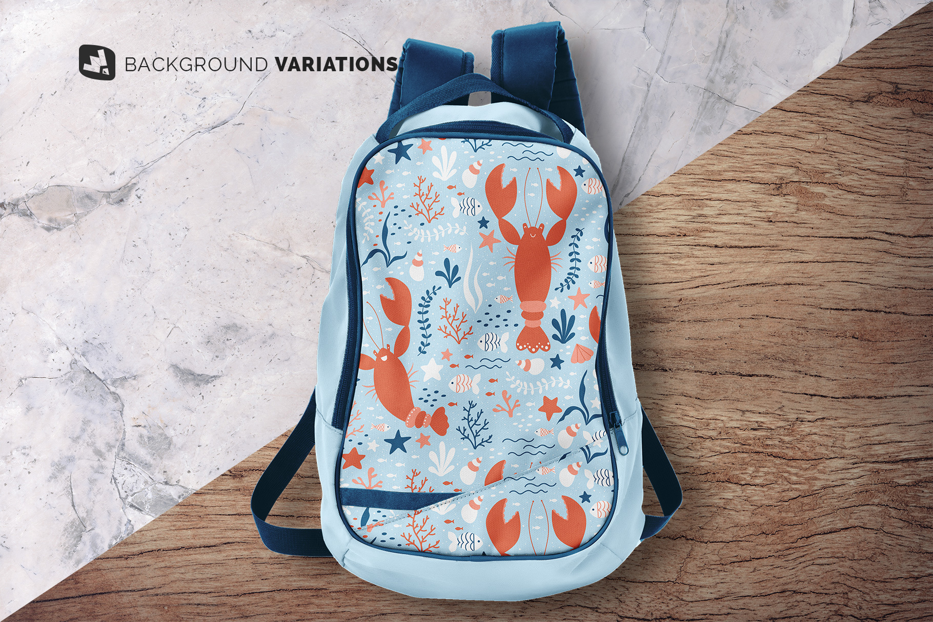 background options of the top view backpack mockup
