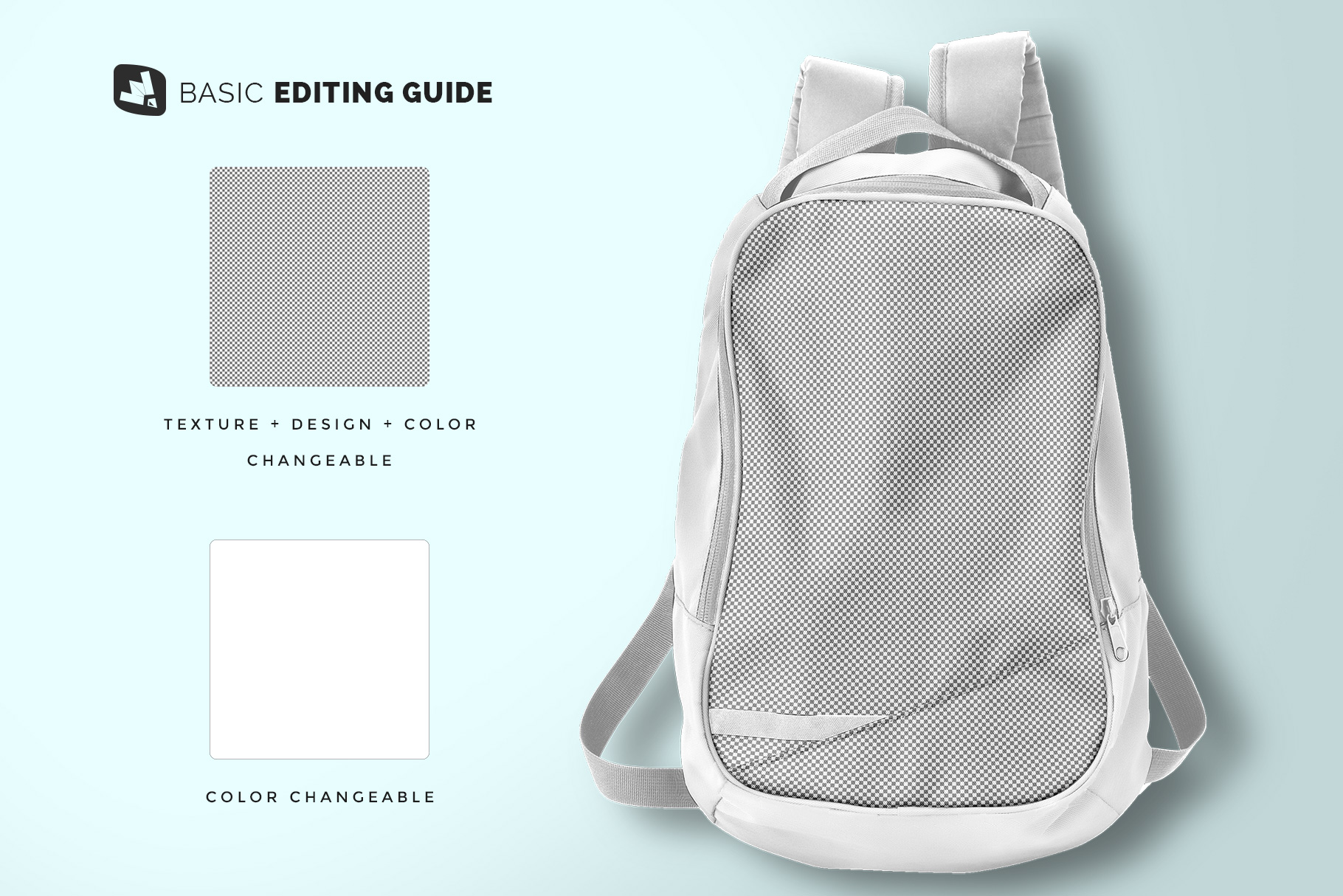 editability of the top view backpack mockup