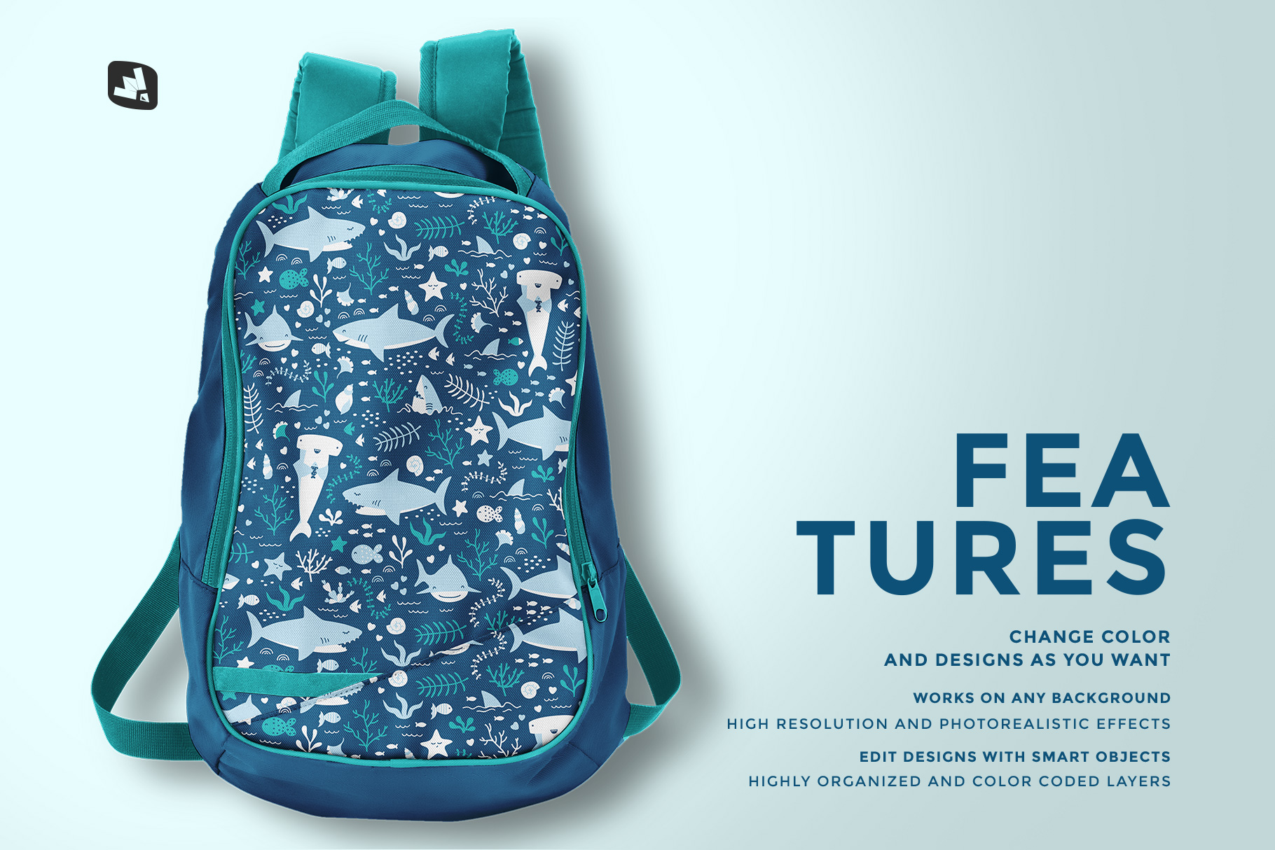features of the top view backpack mockup