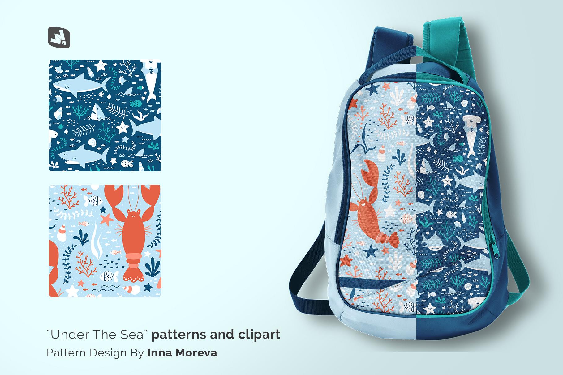 designer's credit of the top view backpack mockup