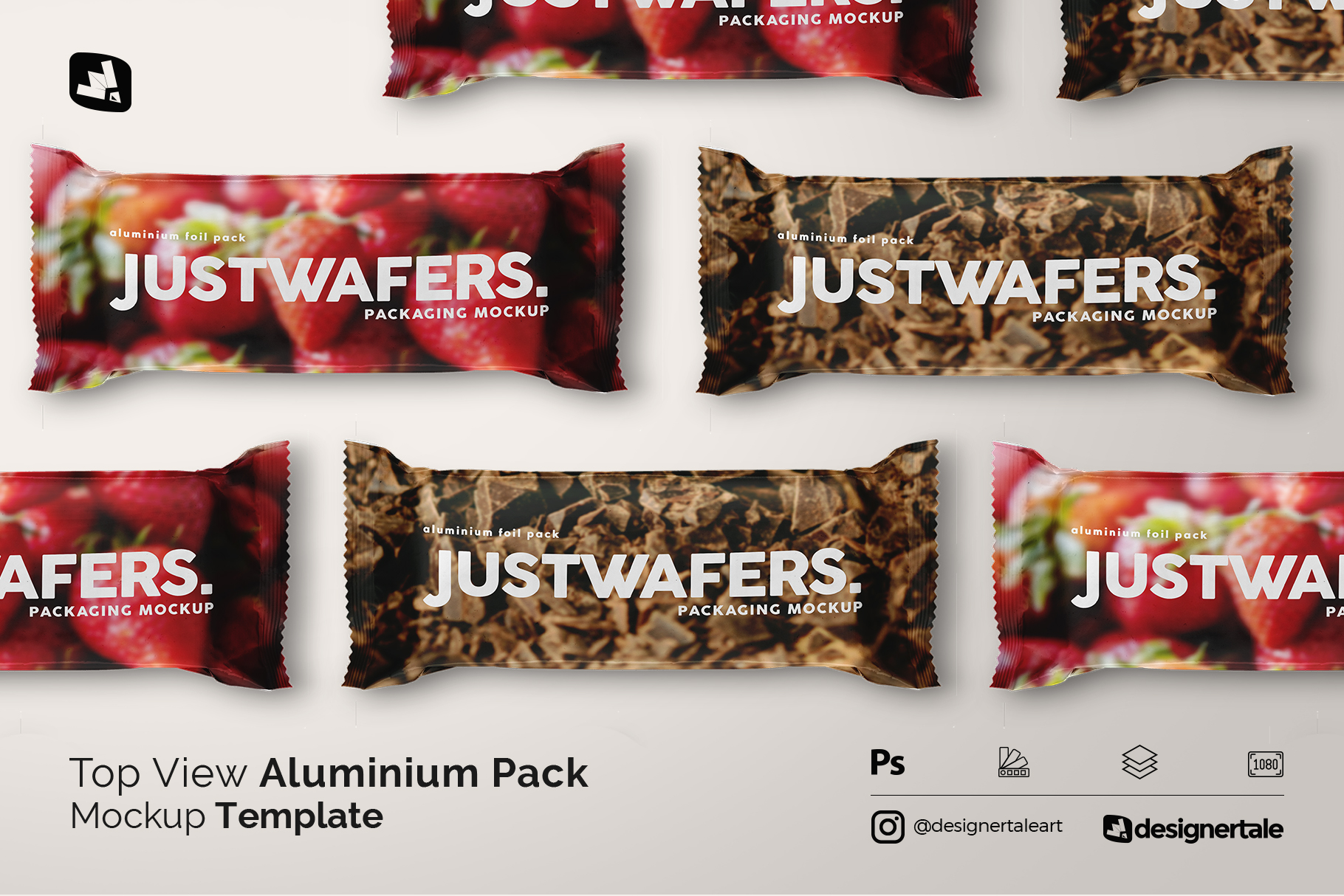 top view aluminium pack mockup