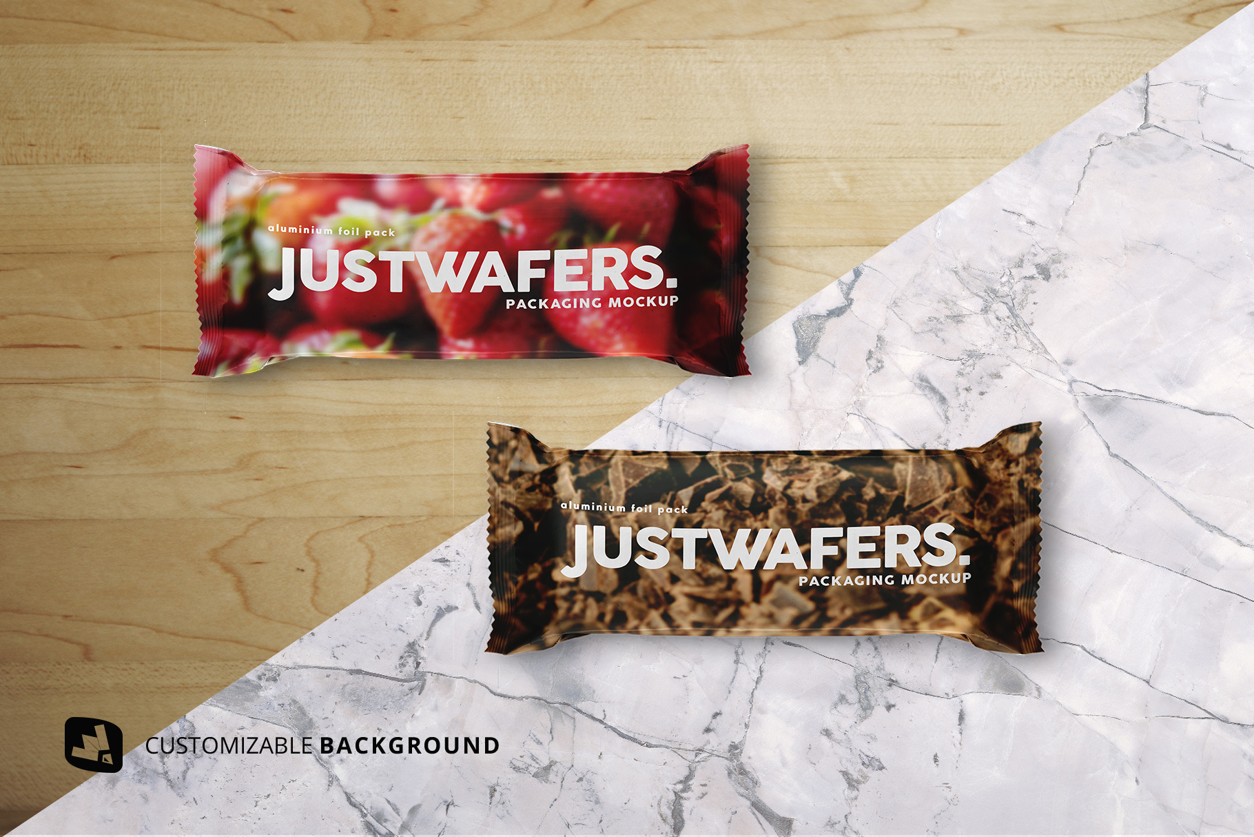 background options of the top view aluminium pack mockup