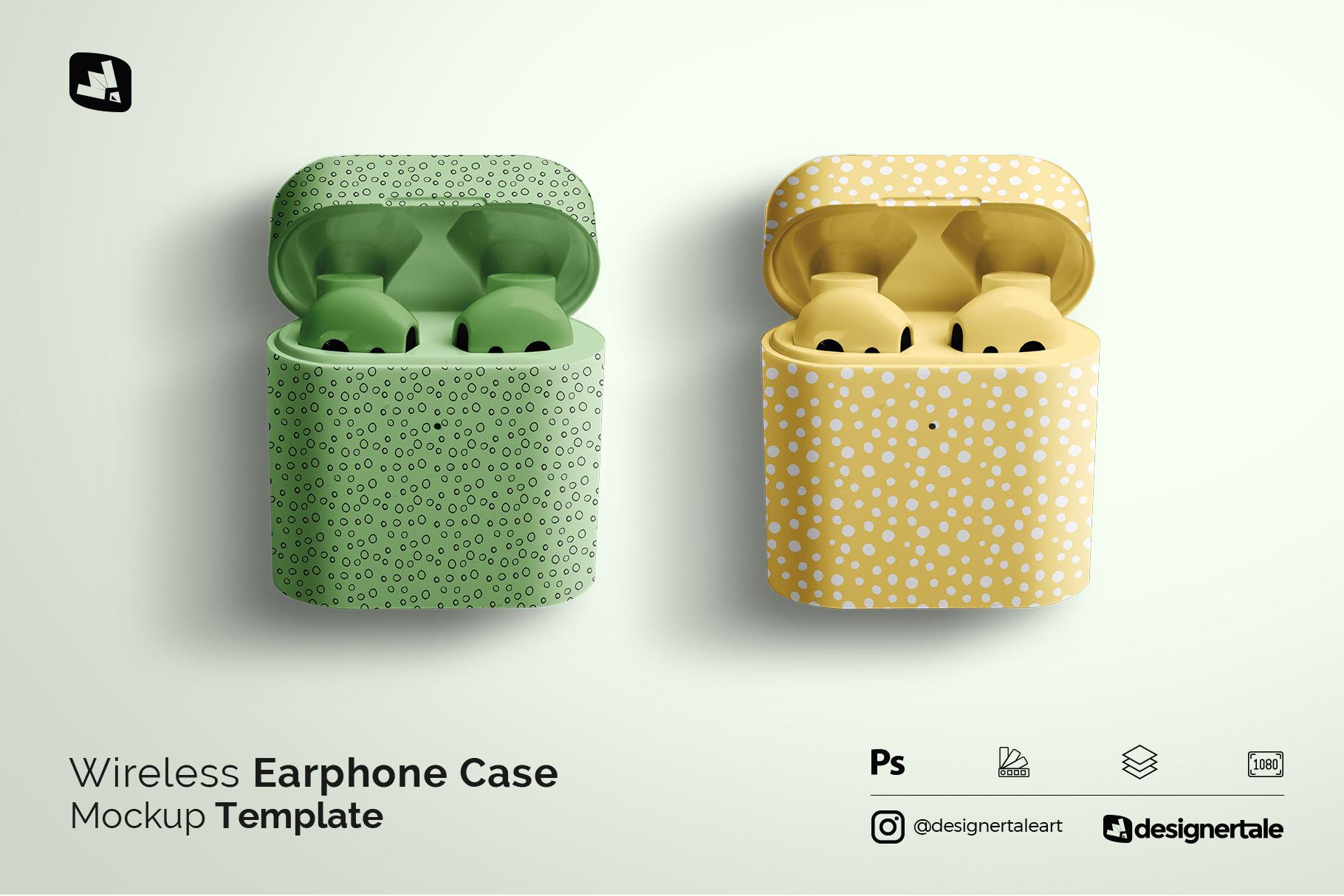 wireless earphone case mockup