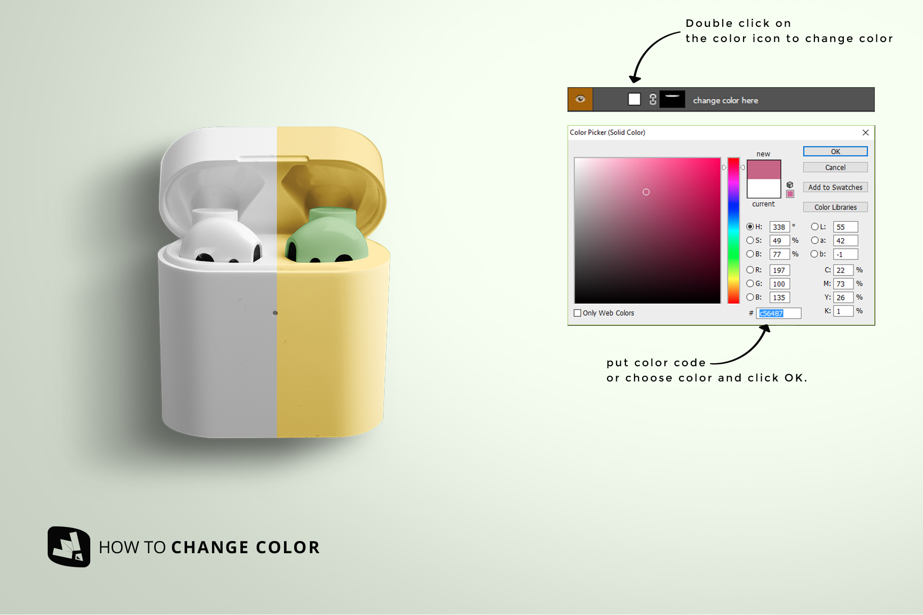 how to change color of the wireless earphone case mockup