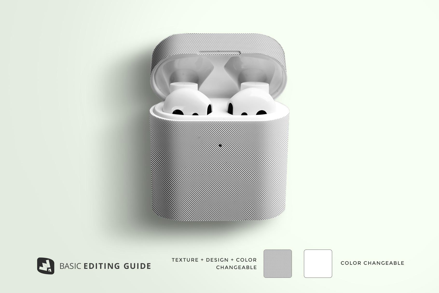 editability of the wireless earphone case mockup