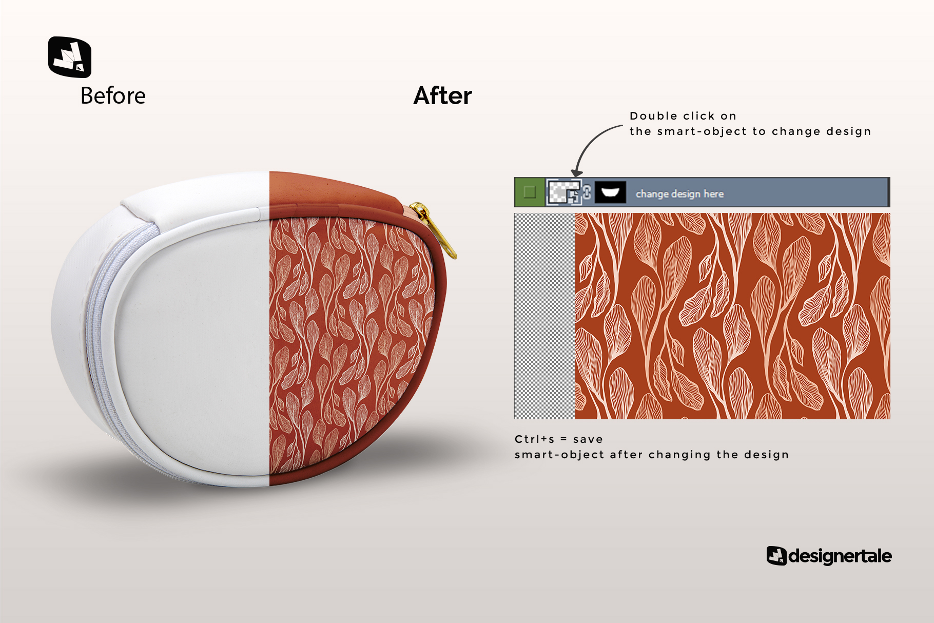 how to change design of the luxury carry on toiletry bag mockup