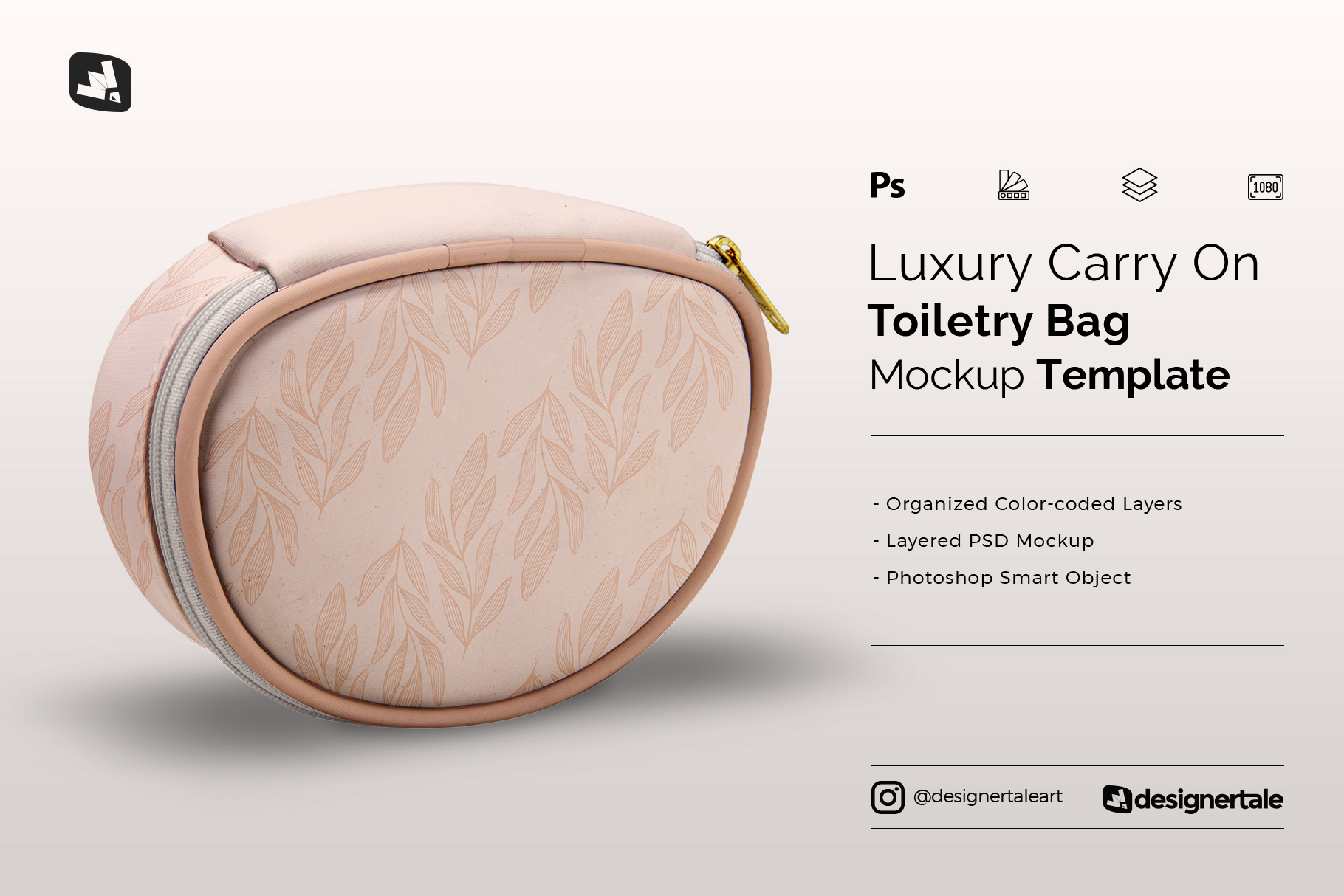 luxury carry on toiletry bag mockup