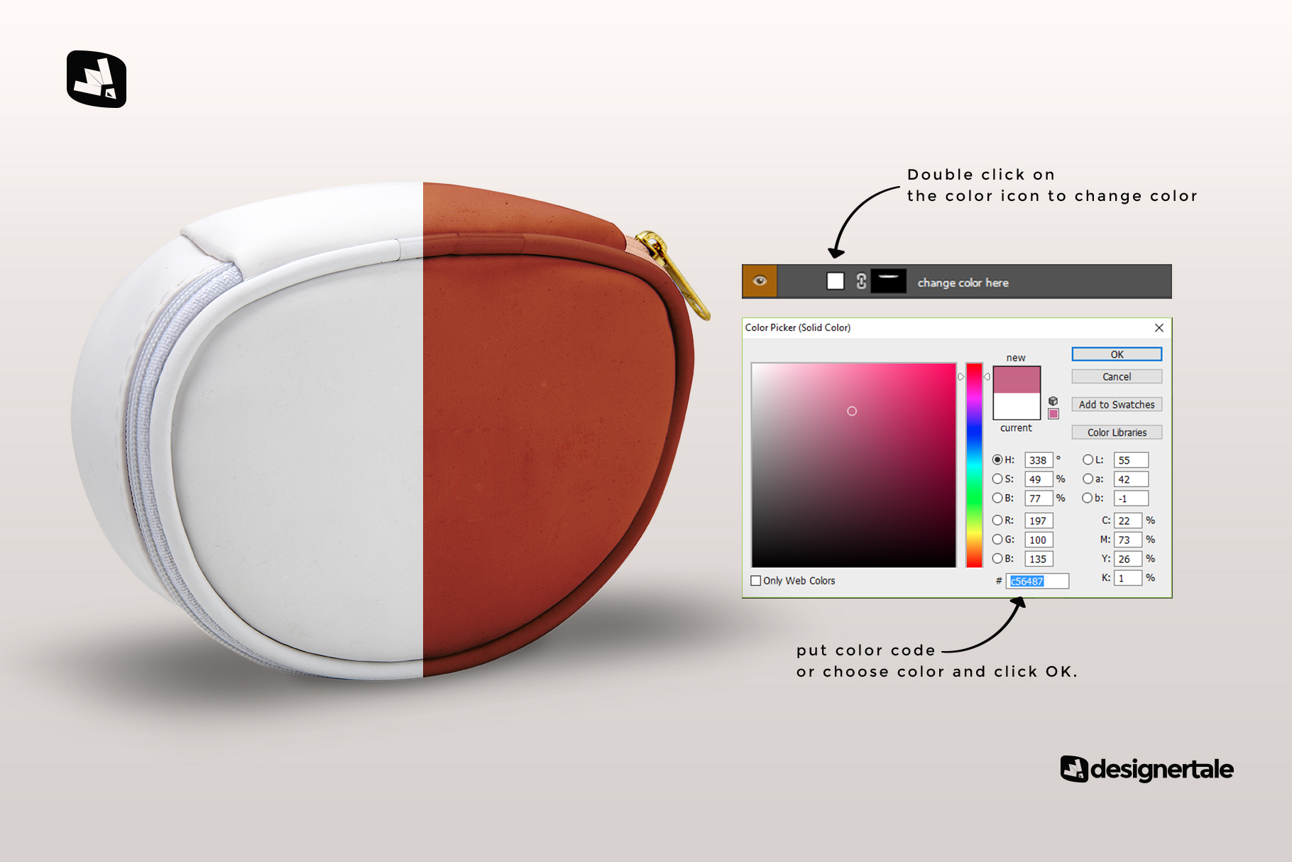 how to change color of the luxury carry on toiletry bag mockup