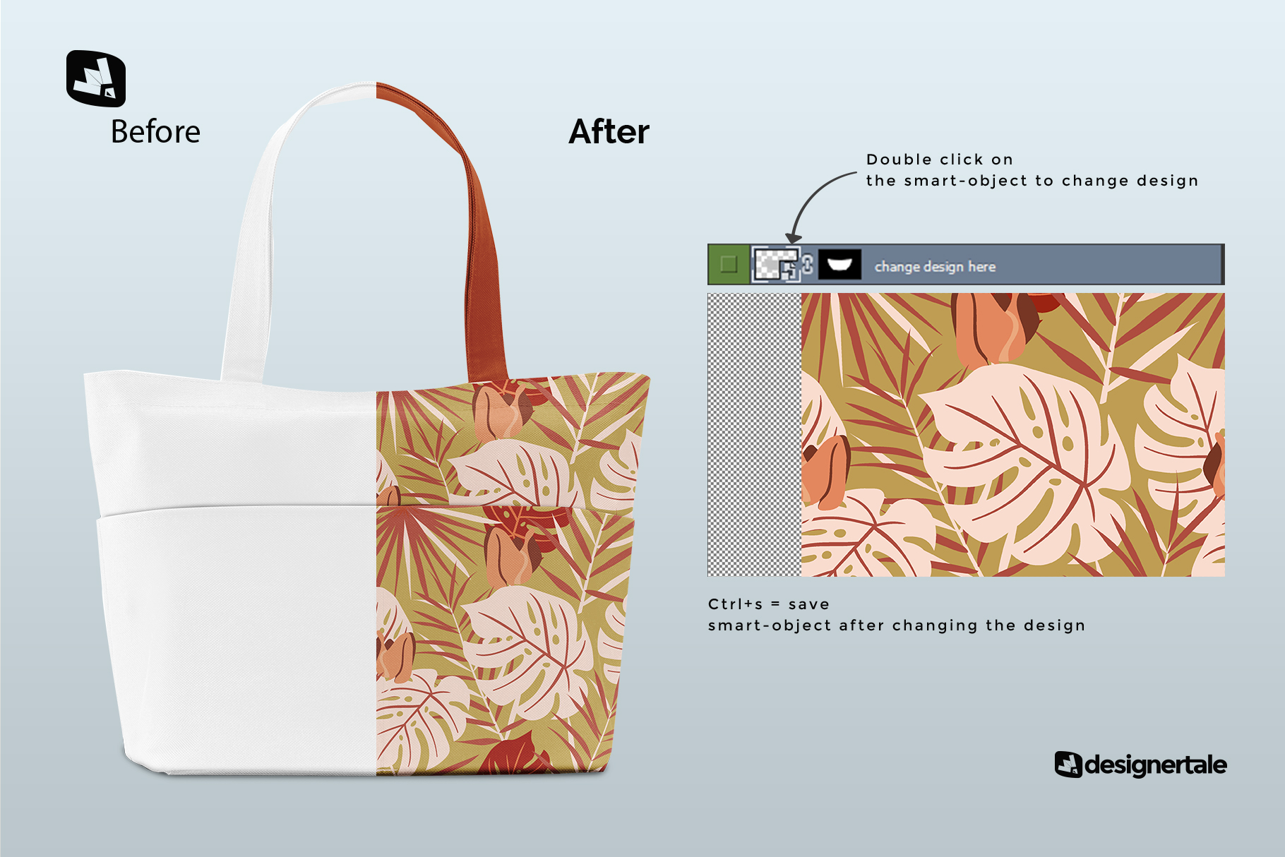 how to change design ofthe front view fabric shopping bag mockup