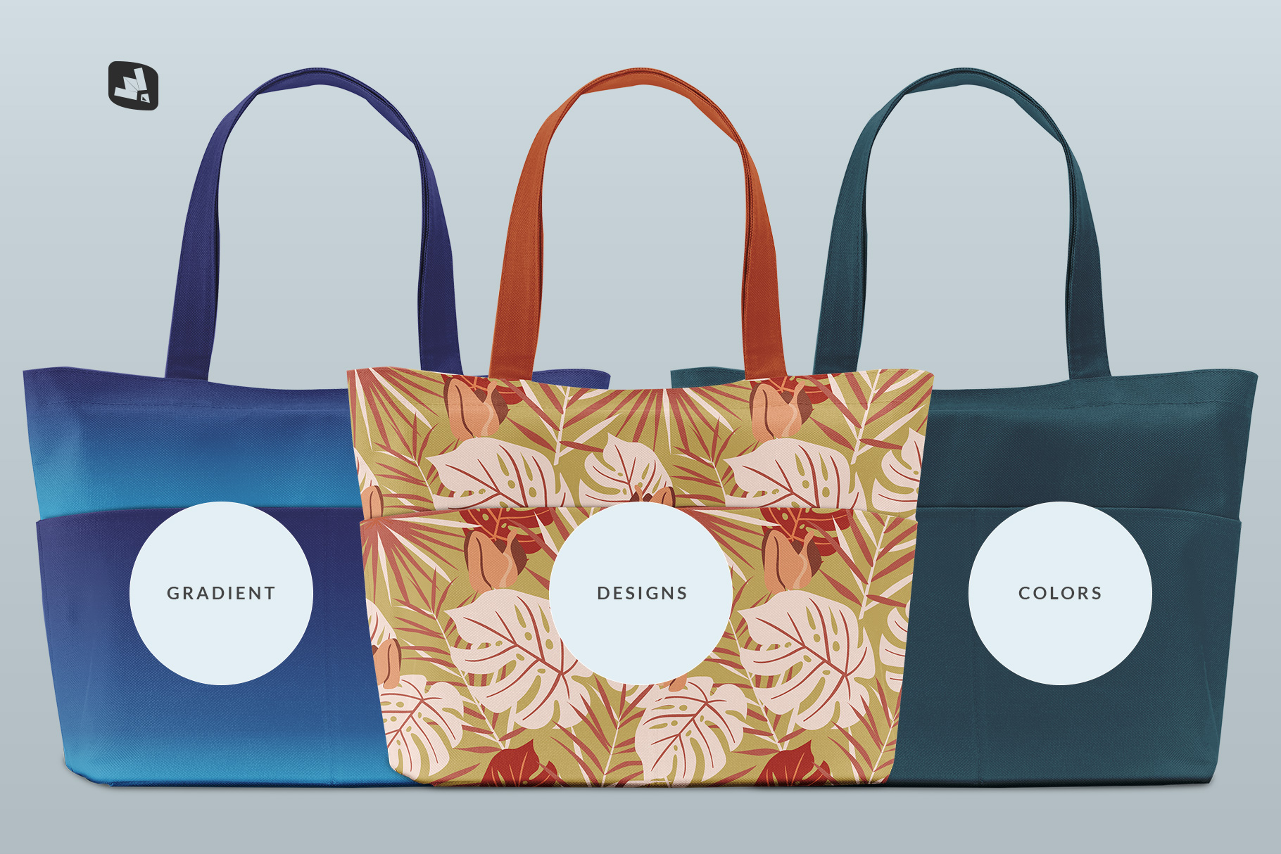 types of the front view fabric shopping bag mockup