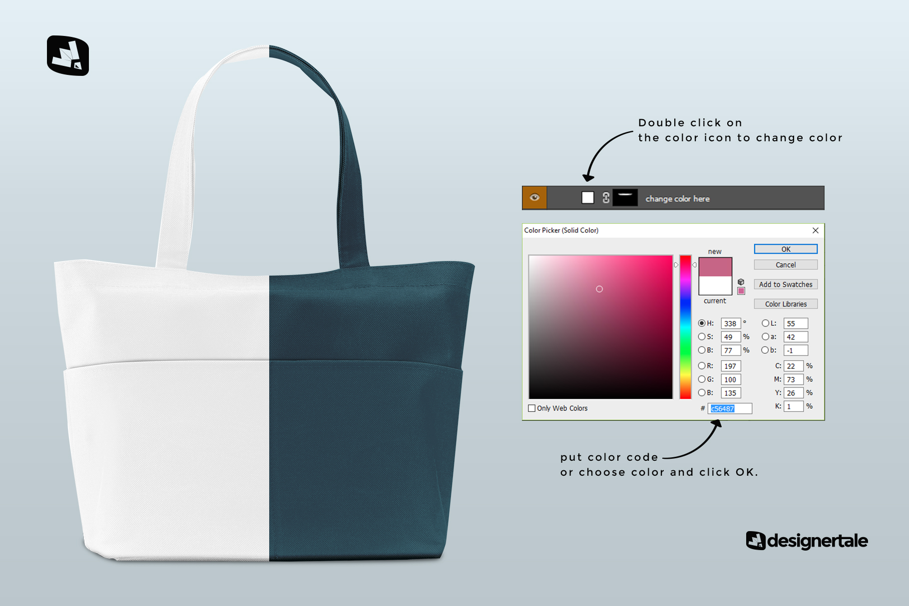 how to change color of the front view fabric shopping bag mockup