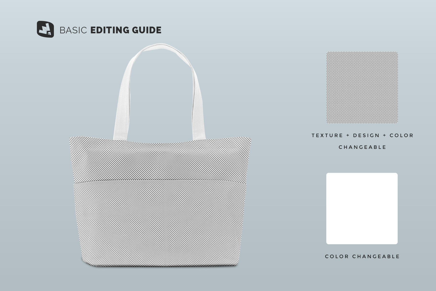 editability of the front view fabric shopping bag mockup