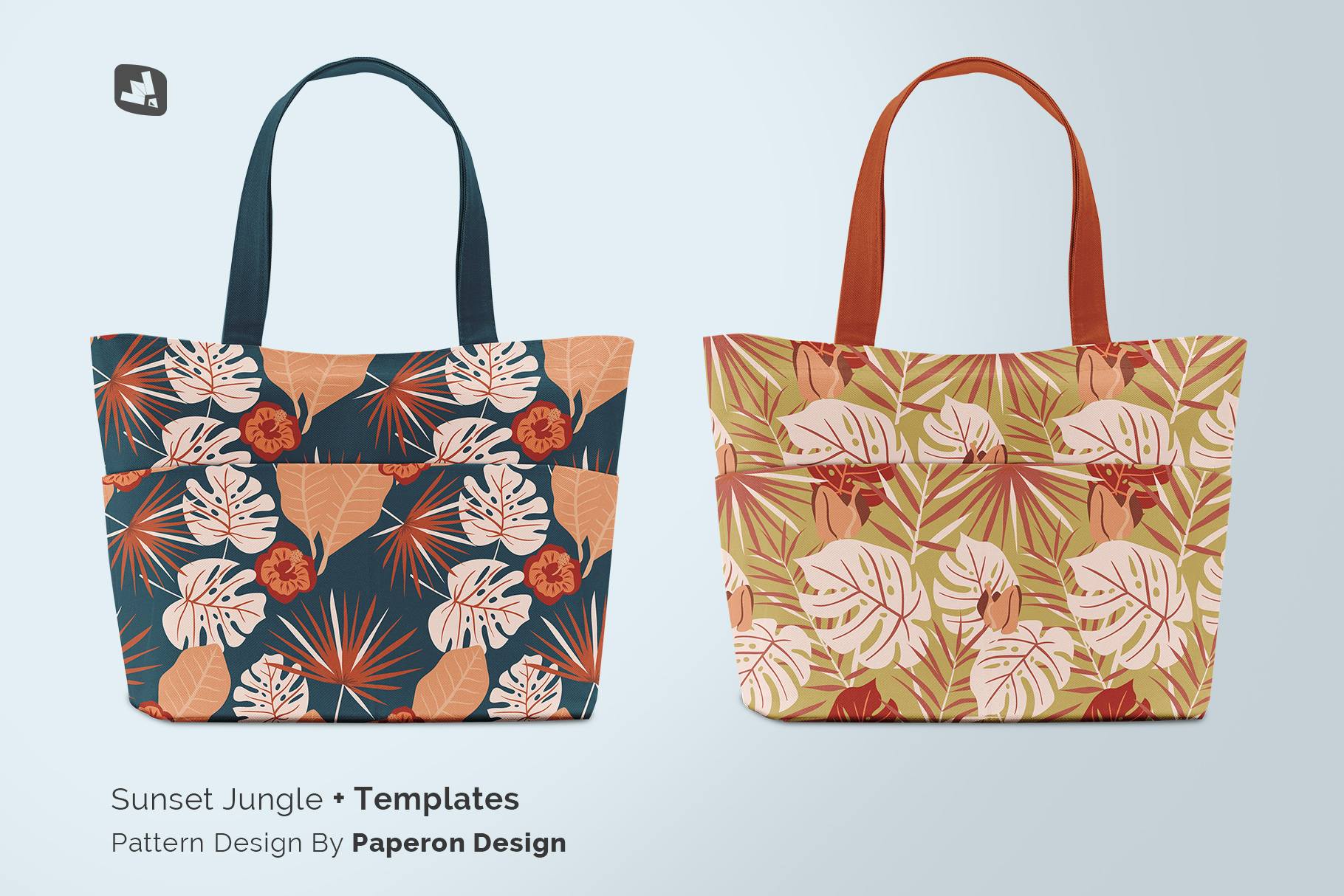 designer's credit of the front view fabric shopping bag mockup