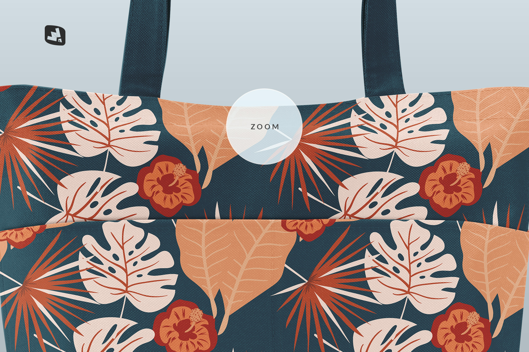 zoomed in image of the front view fabric shopping bag mockup