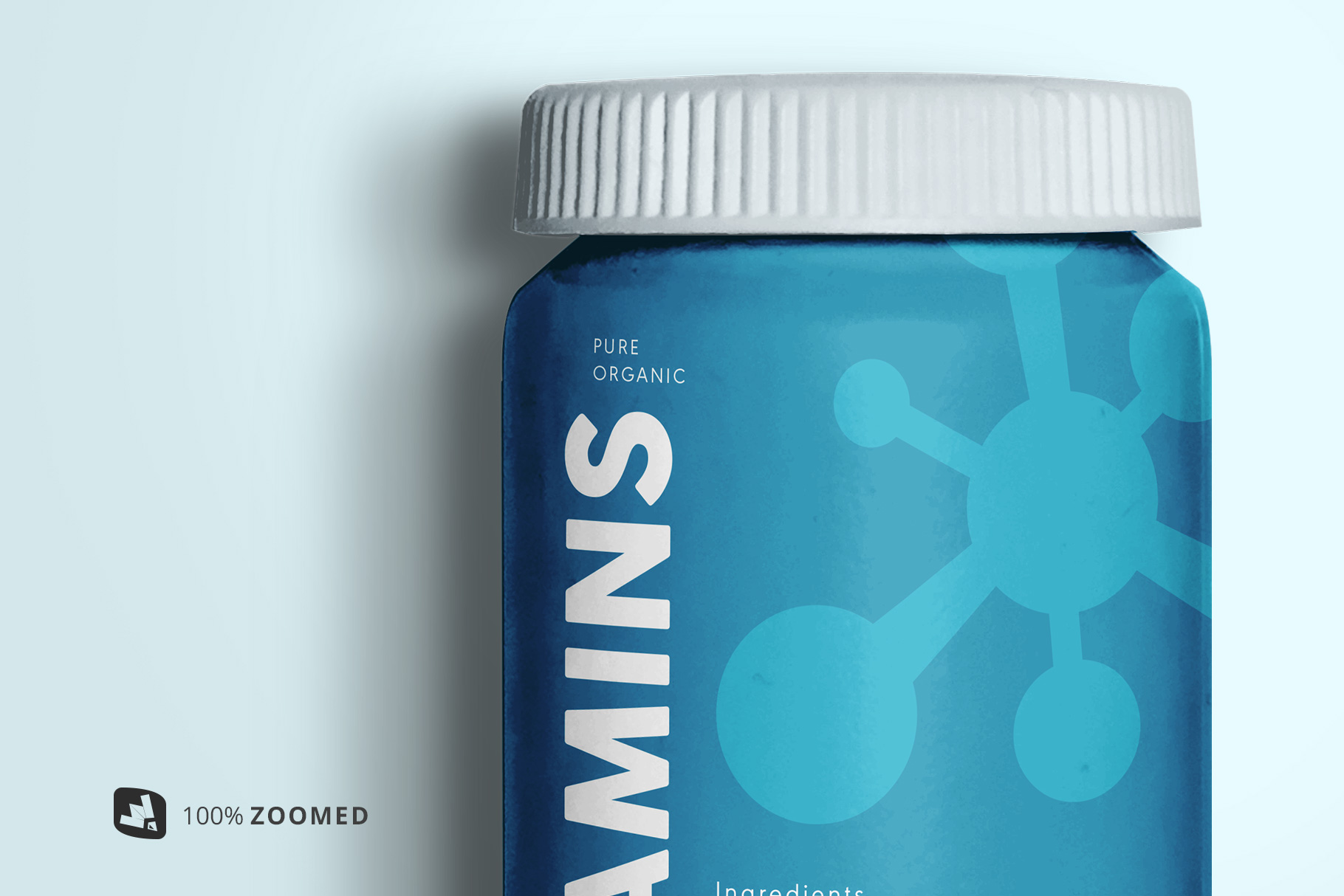 zoomed in image of the top view pill bottle packaging mockup bottle of the top view pill bottle packaging mockup