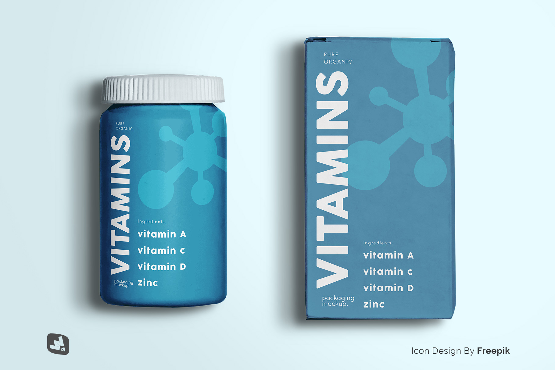 designer's credit of the top view pill bottle packaging mockup