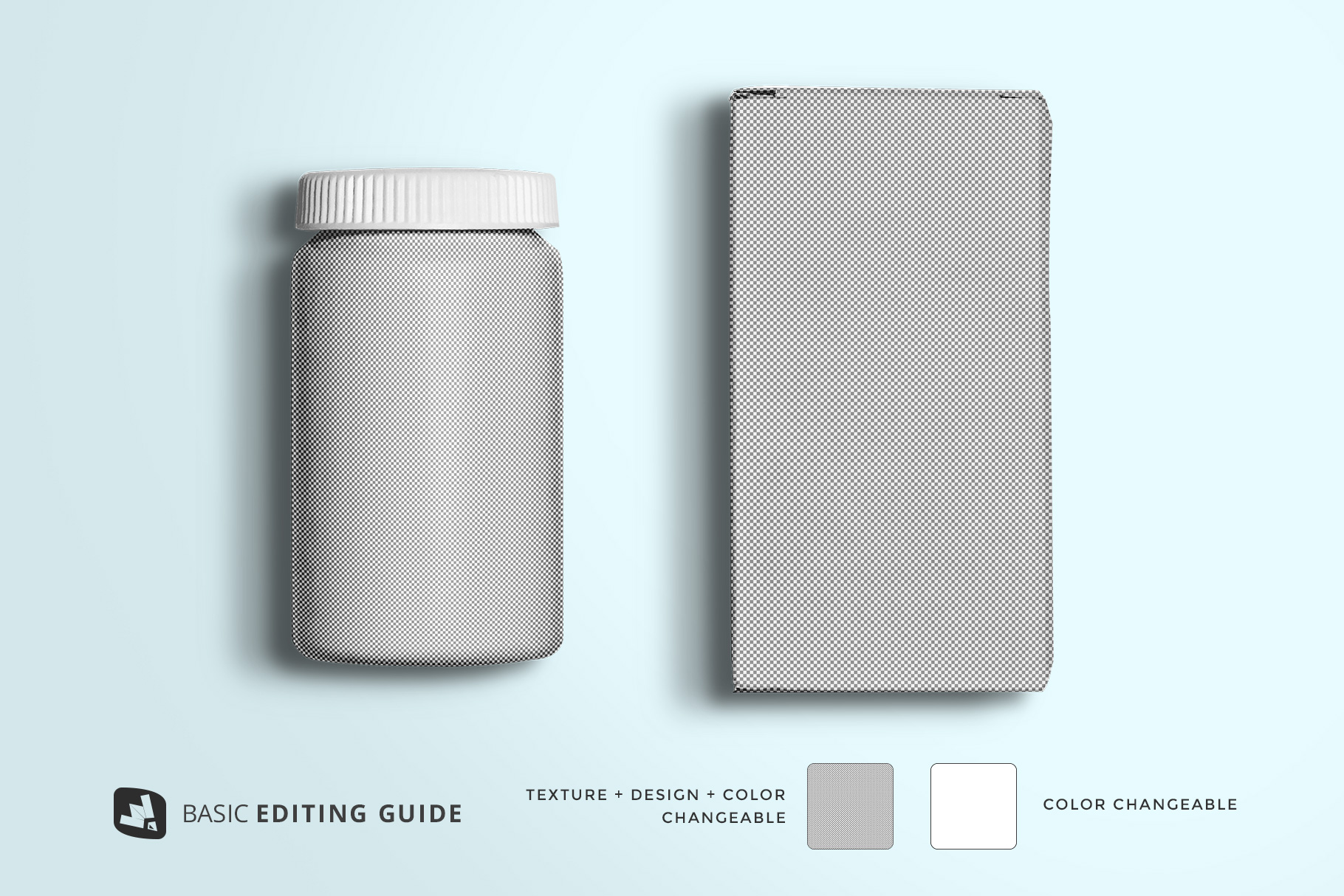 editability of the top view pill bottle packaging mockup