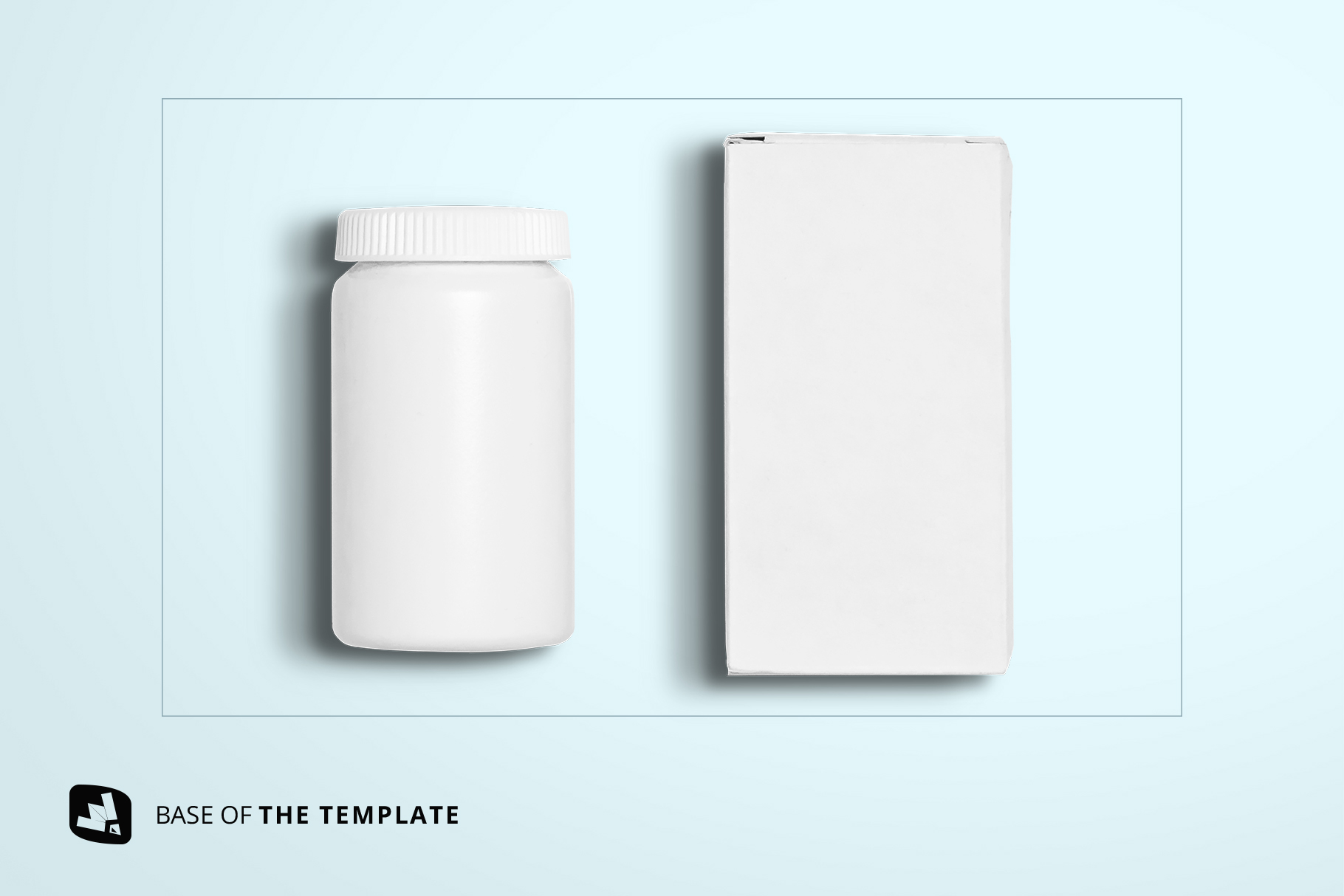 base image of the top view pill bottle packaging mockup