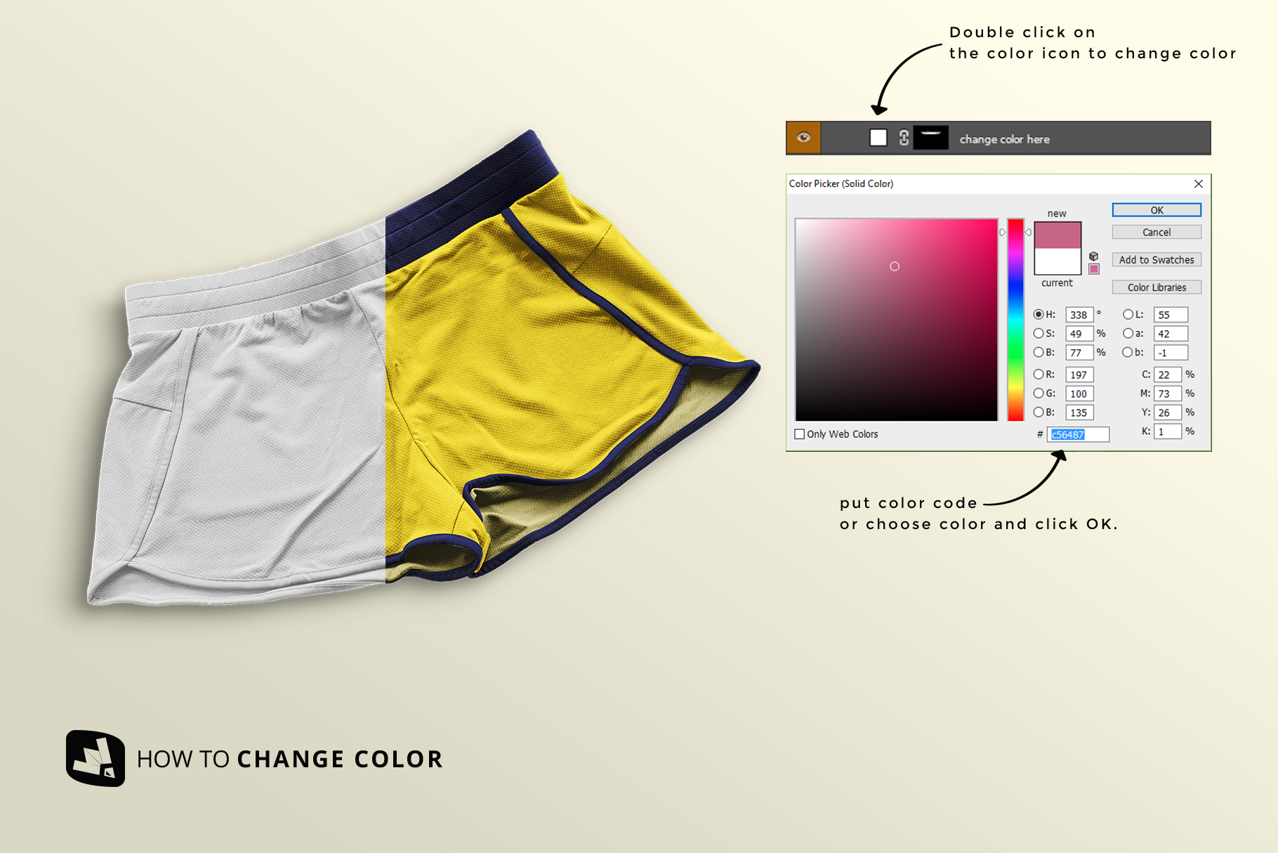 how to change color of the female sportswear shorts mockup