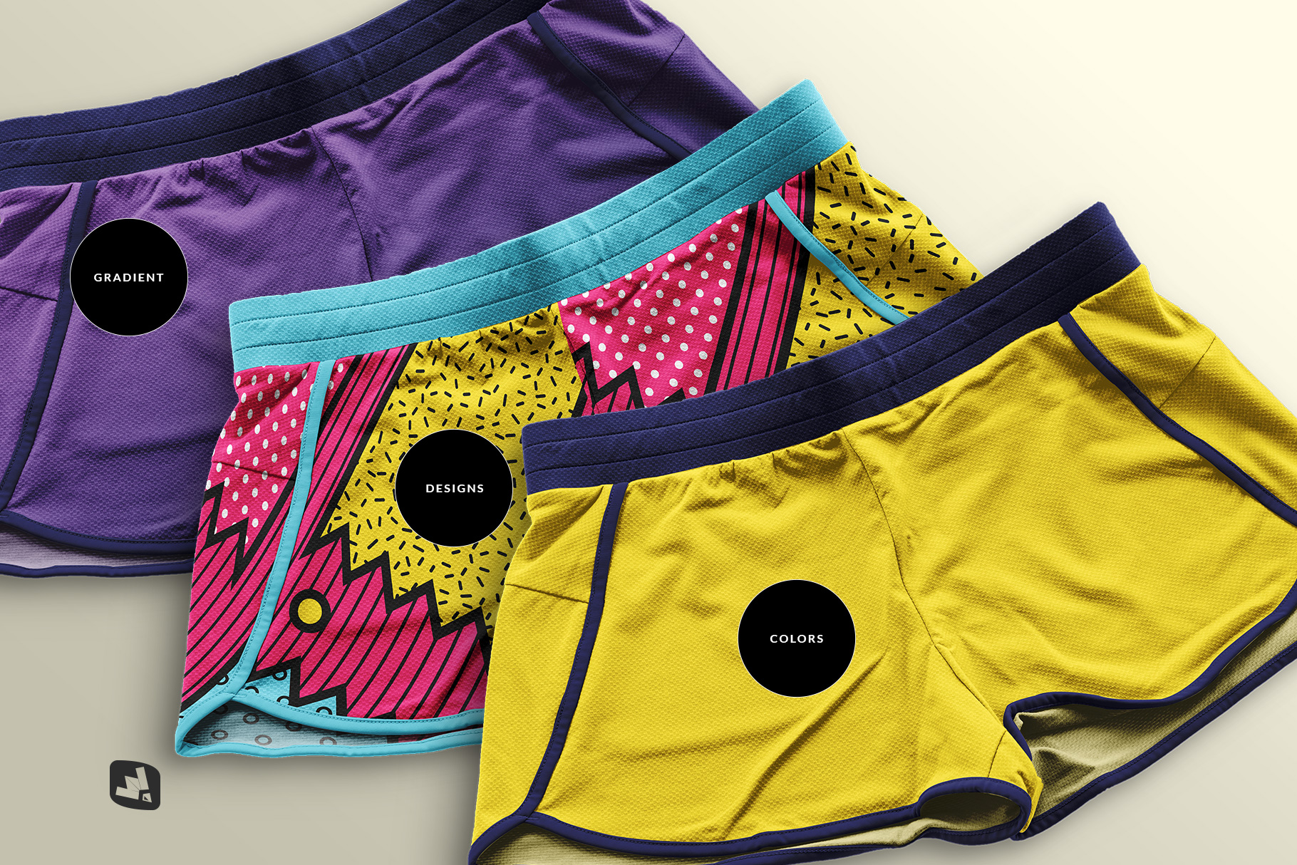 types of the female sportswear shorts mockup