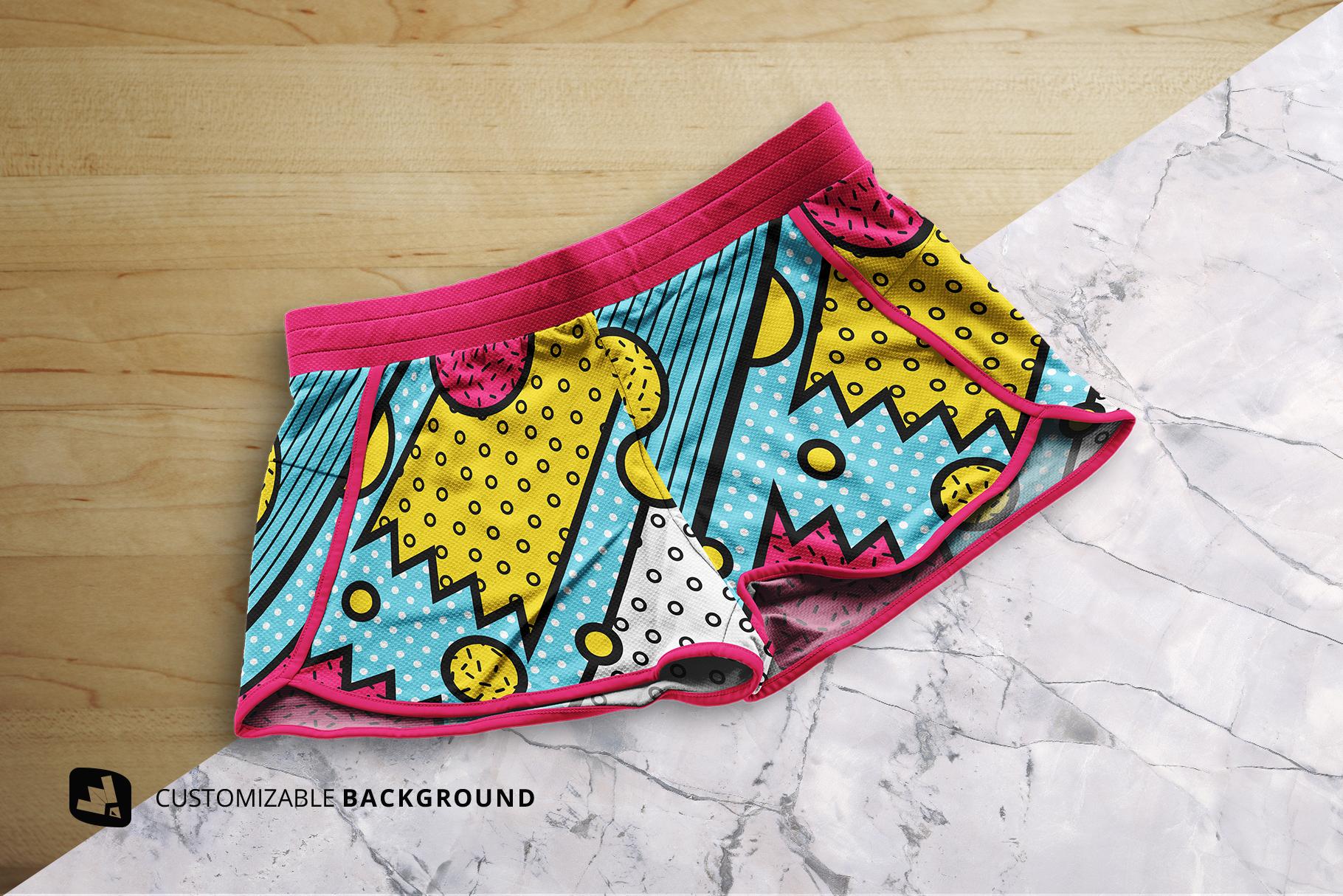 background options of the female sportswear shorts mockup