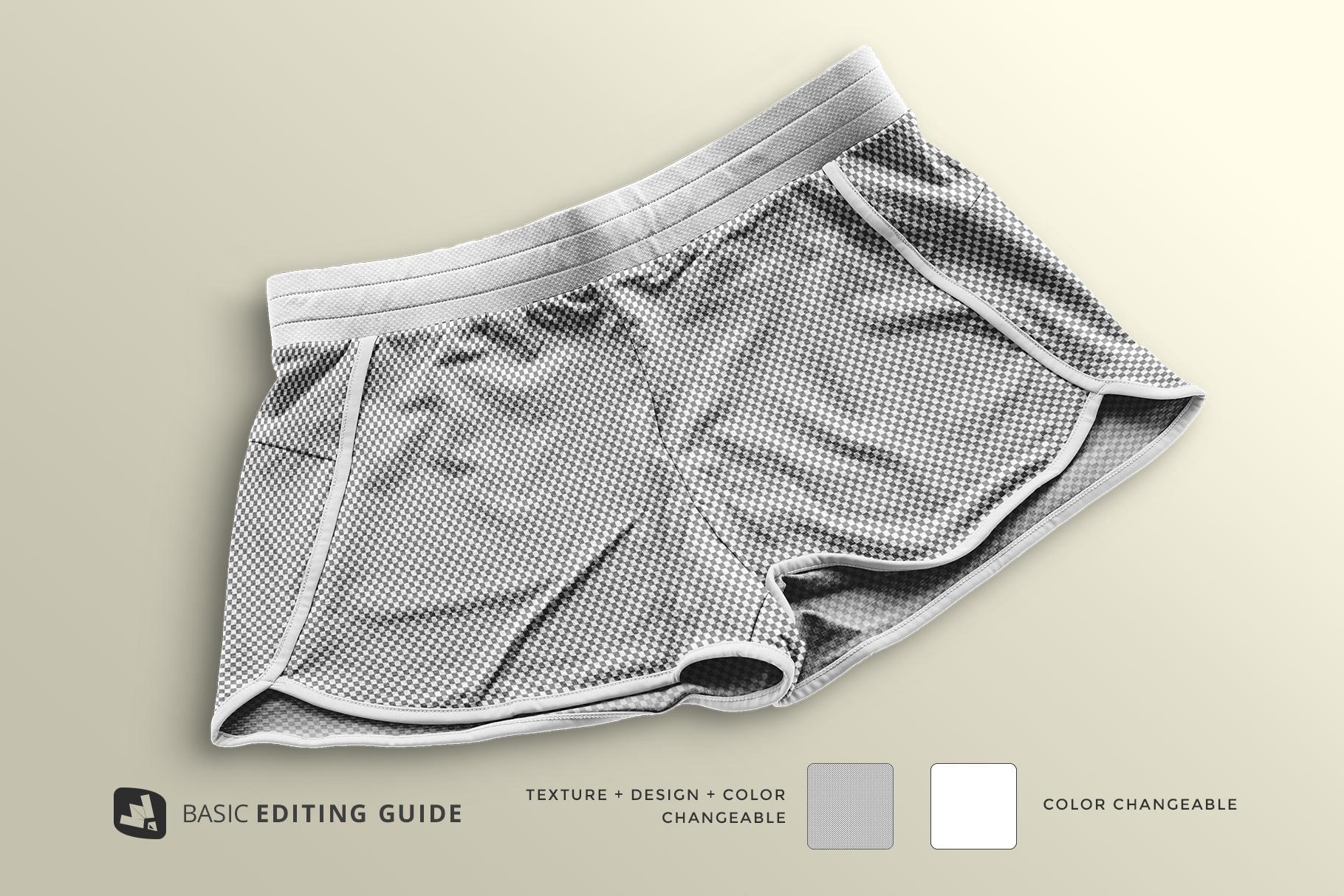 editability of the female sportswear shorts mockup
