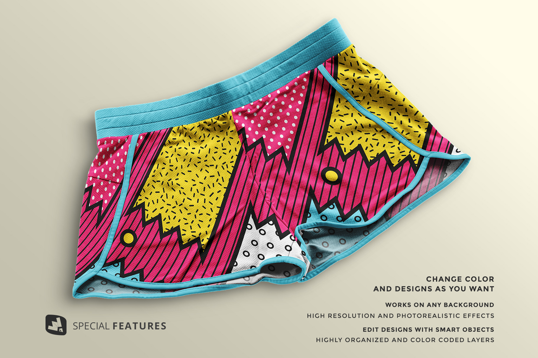 features of the female sportswear shorts mockup