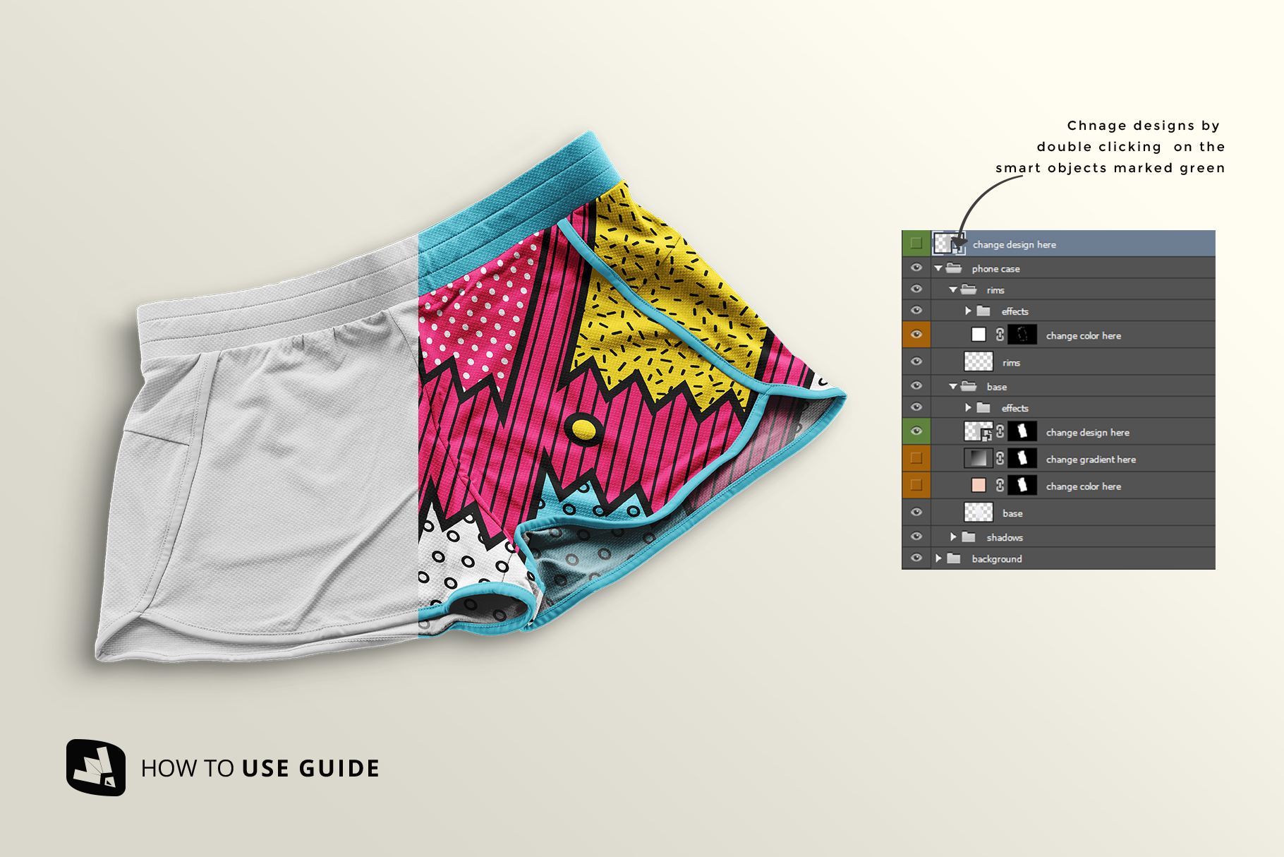 how to change design of the female sportswear shorts mockup