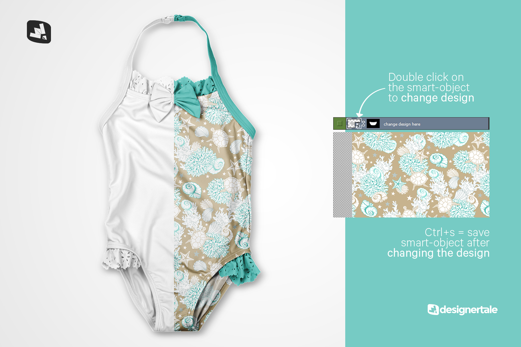 how to change design of the backless baby swimsuit mockup