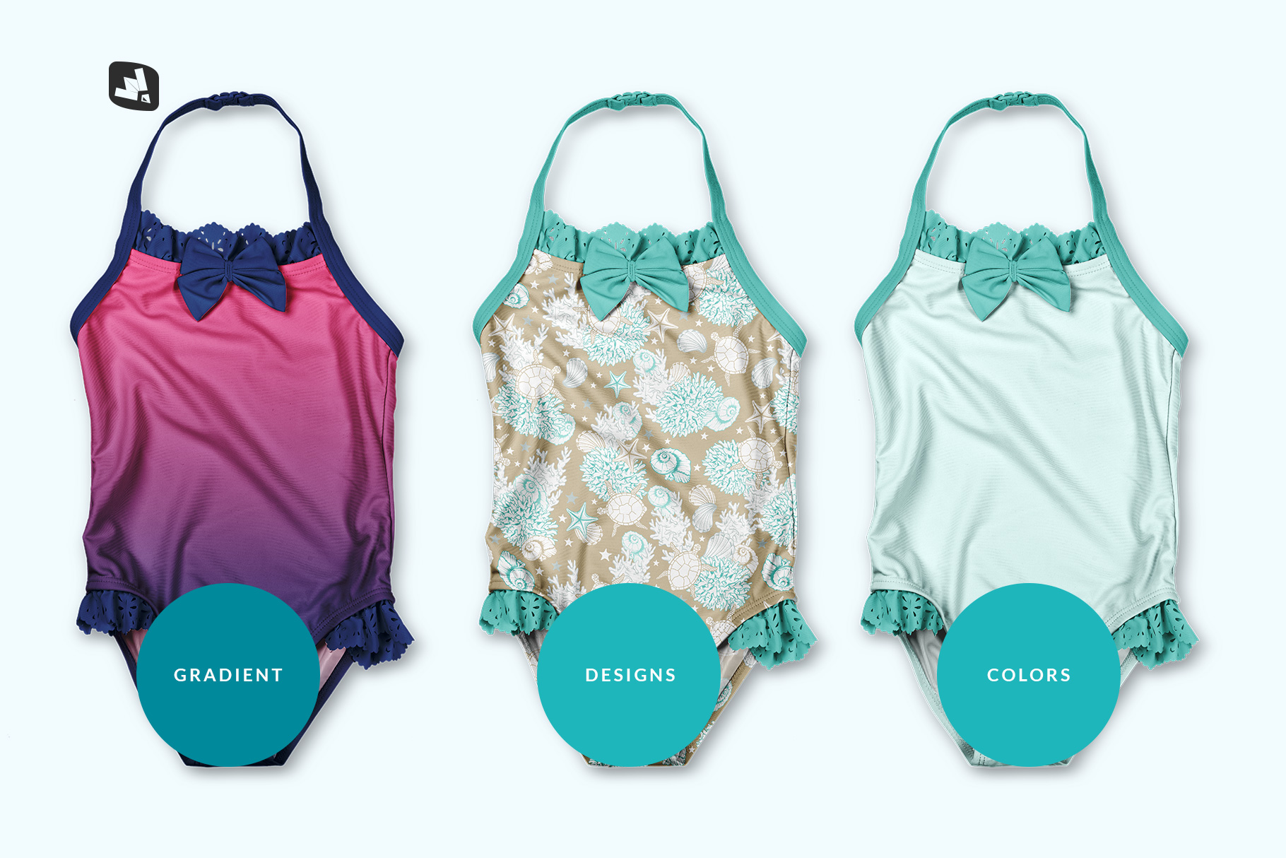types of the backless baby swimsuit mockup