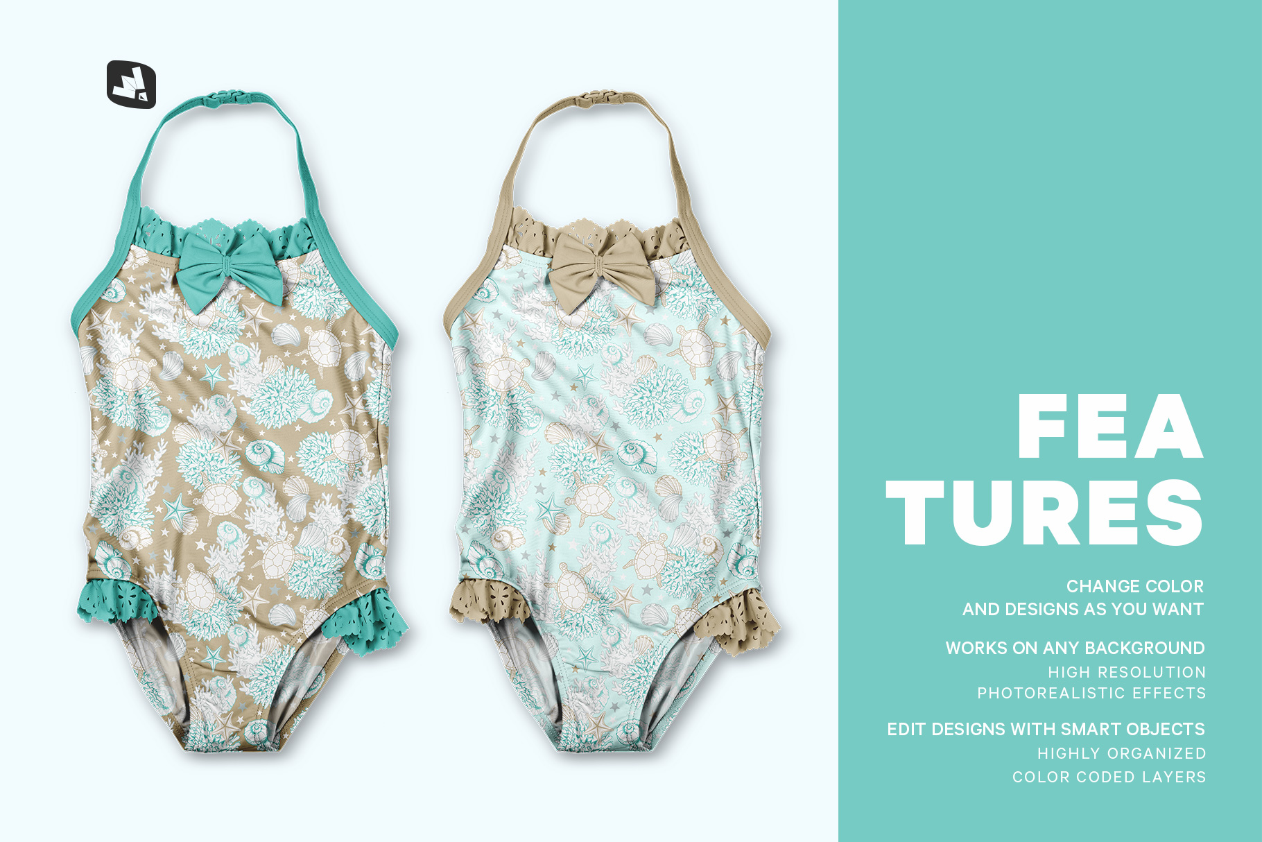 features of the backless baby swimsuit mockup