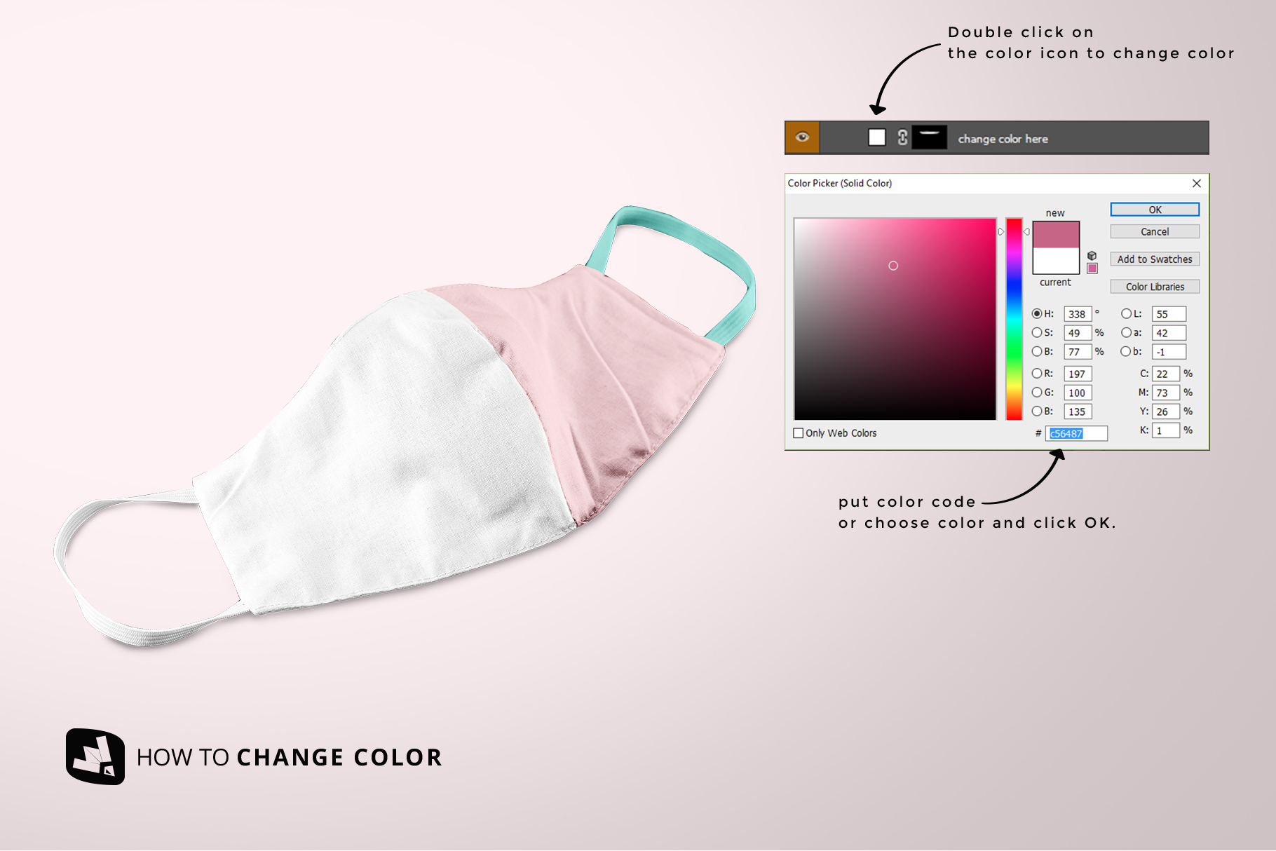 how to change color of the reusable cotton mask mockup
