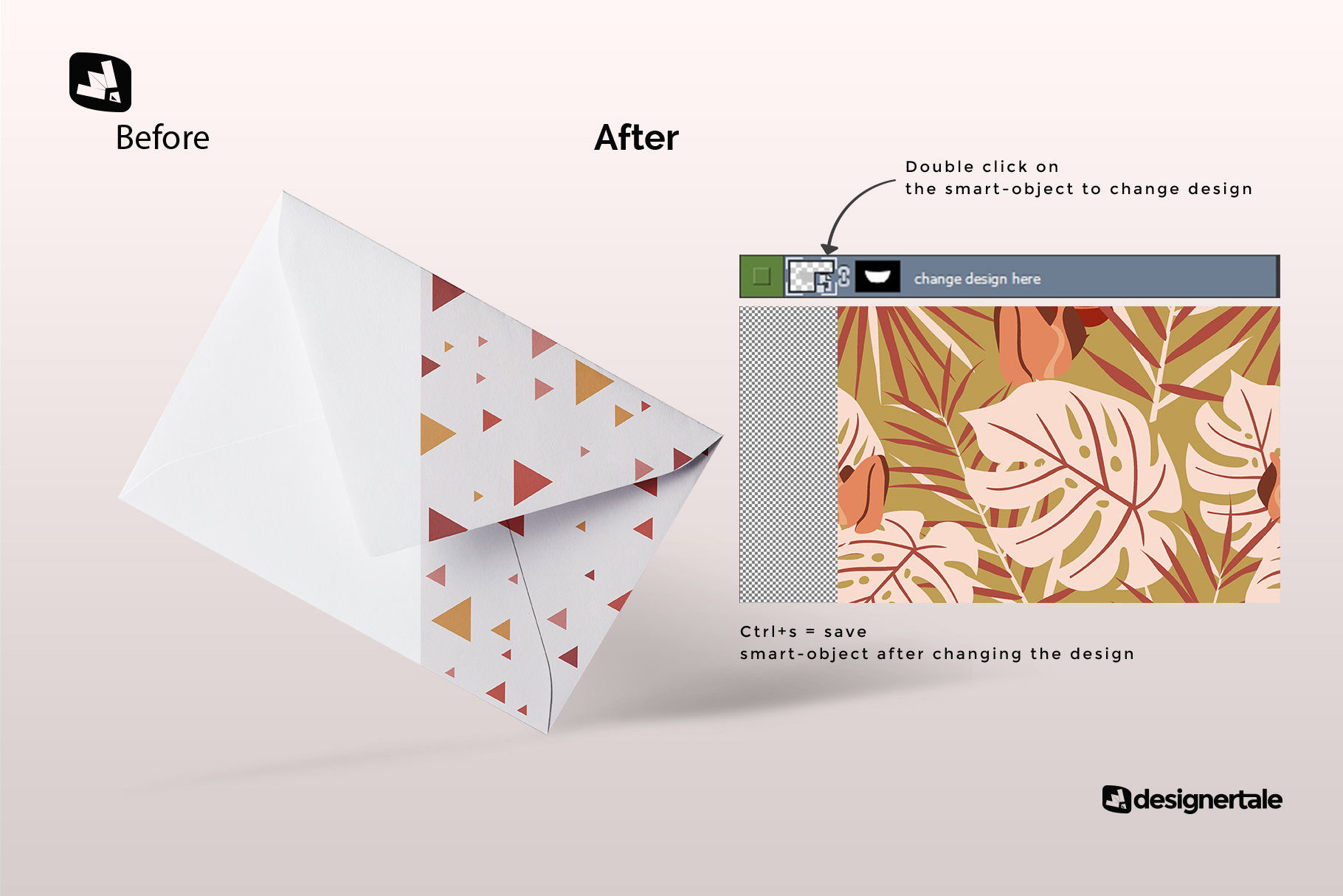 how to change the design of the rectangular letter envelope mockup