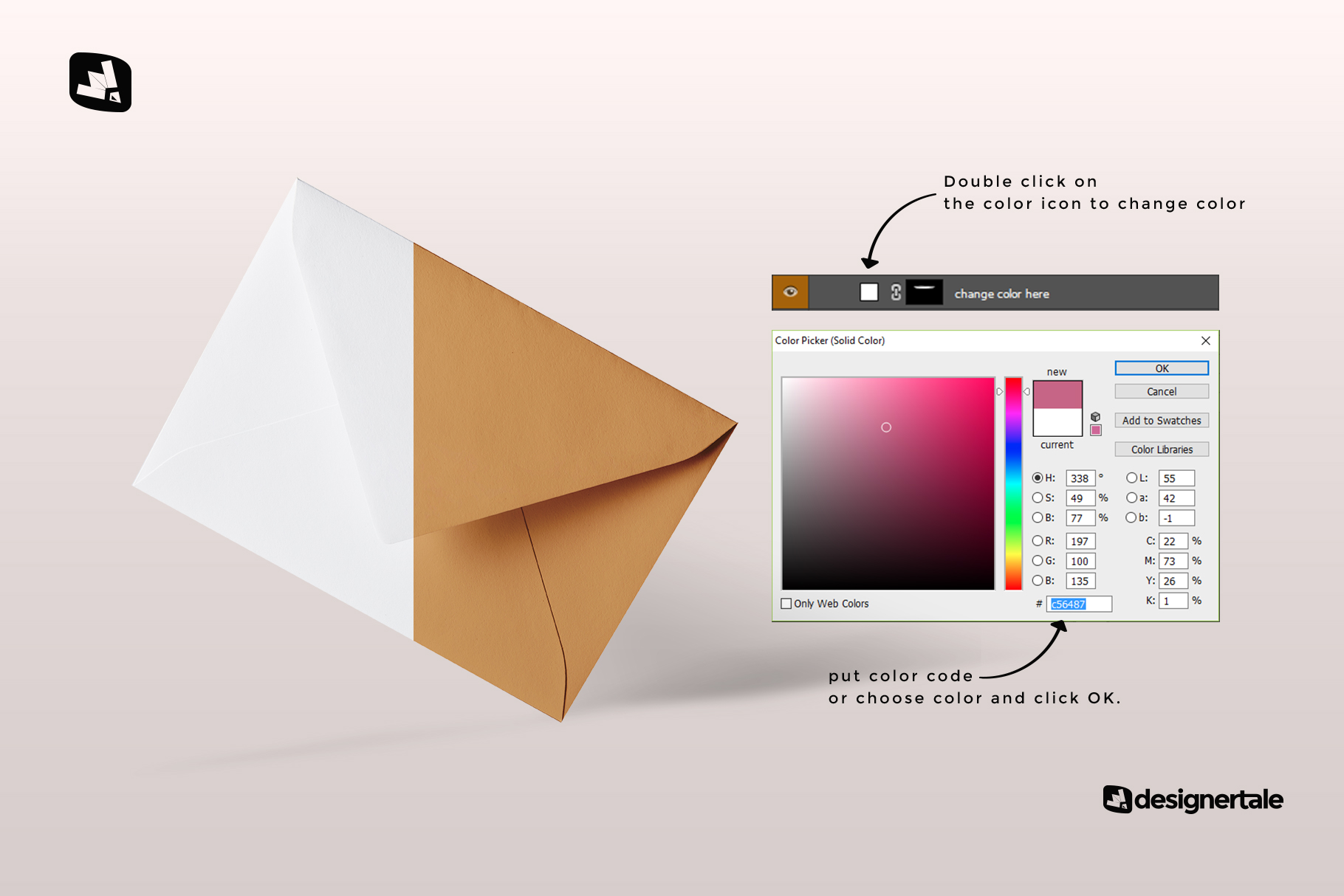 how to change color of the rectangular letter envelope mockup
